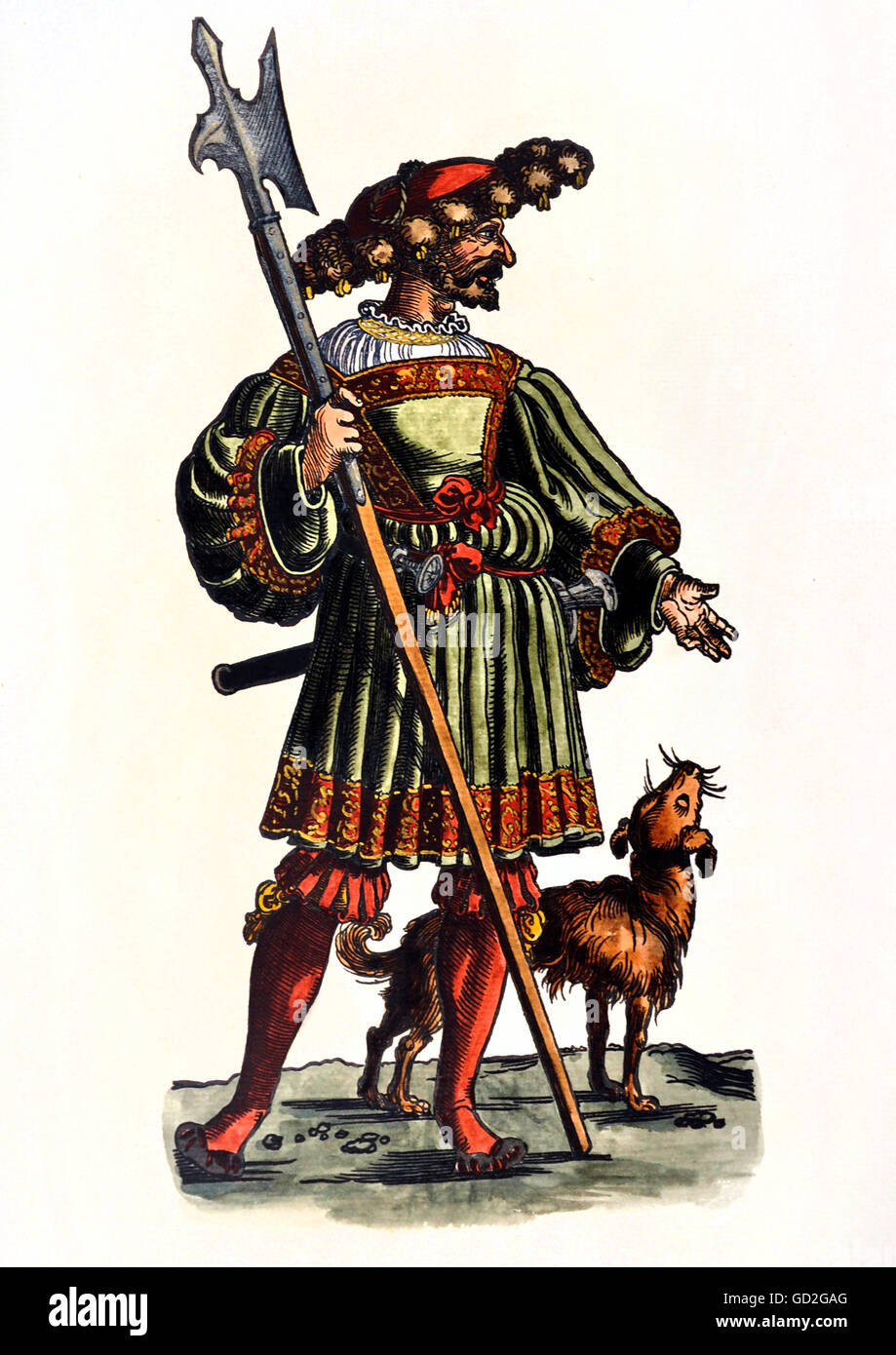 military, lansquenets, lansquenet, full length, standing, with dog, coloured woodcut, circa 1520 - 1530, from: Warriors - Stock Image