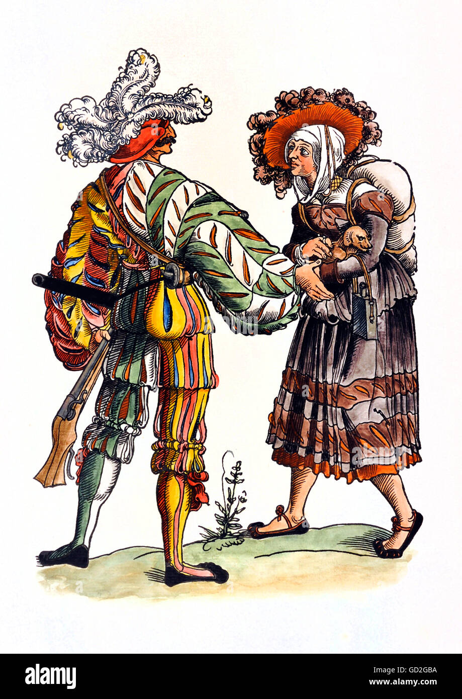 military, lansquenets, marksman, full length, standing, with wife, coloured woodcut, circa 1520 - 1530, from: Warriors - Stock Image