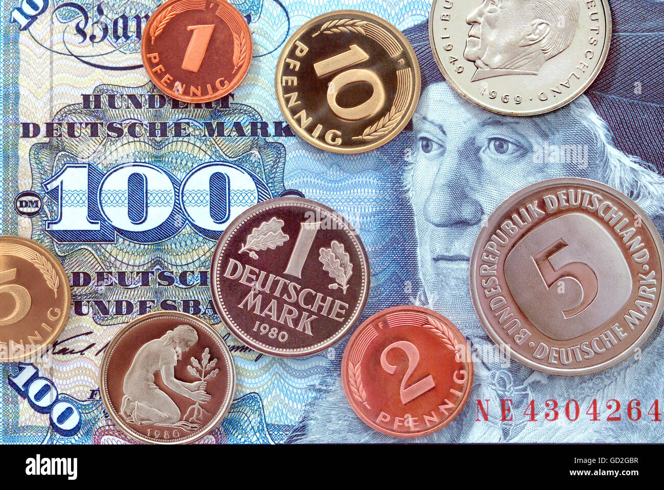 money / finances,coins,Germany,German Mark,100 Mark banknote,valid from 1950 until 2001,coins year of minting: 1980,penny,hundred Stock Photo