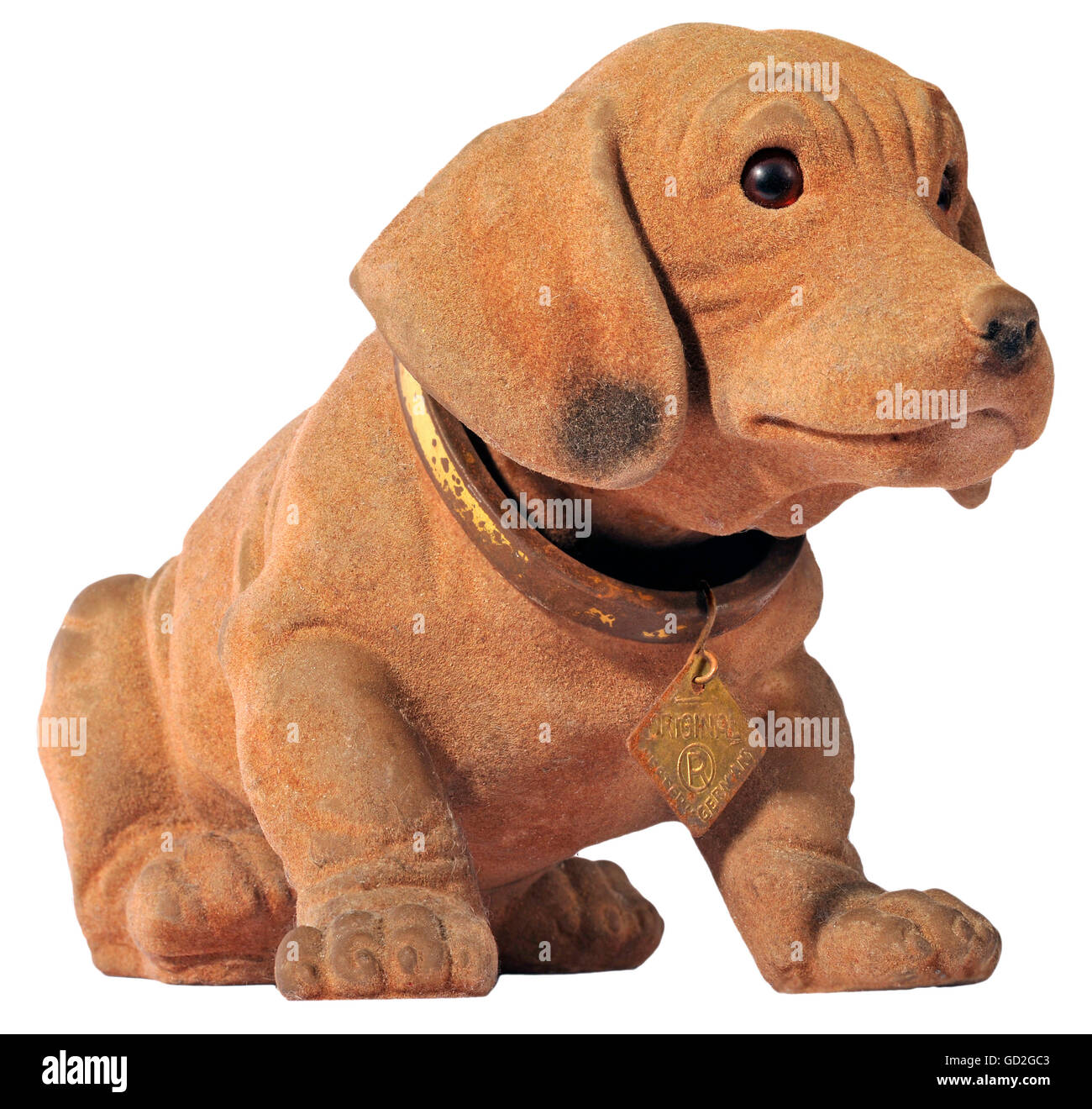 kitsch / souvenirs, nodding dog, one of the first nodding dogs, invented 1965, with dog tag Original Western Germany, - Stock Image