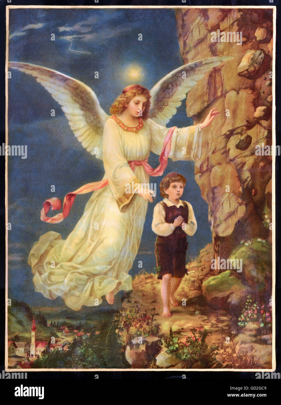 religion, Christianity, angel, guardian angel protecting child, lithograph, Germany, circa 1895, Additional-Rights - Stock Image