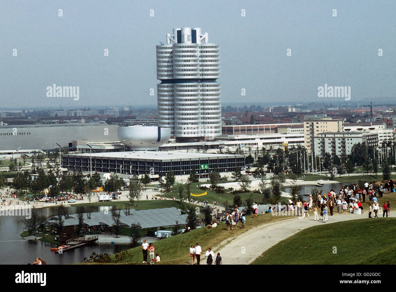 geography / travel, Germany, Munich, building, BMW Headquarters, built by Karl Schwanzer (1918 - 1975), exterior - Stock Image