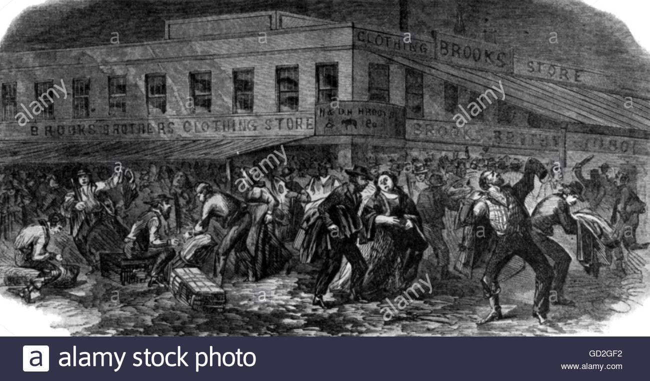 American Civil War 1861 - 1865, politics, New York City draft riots, 13. - 16.7.1863, the Brooks Brothers clothing - Stock Image