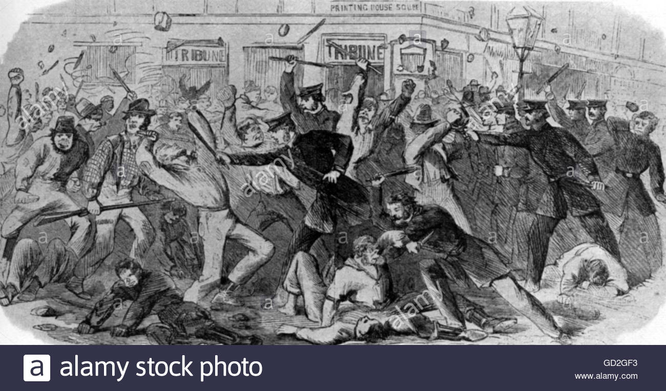 American Civil War 1861 - 1865, politics, New York City draft riots, 13. - 16.7.1863, rioters fighting with the - Stock Image