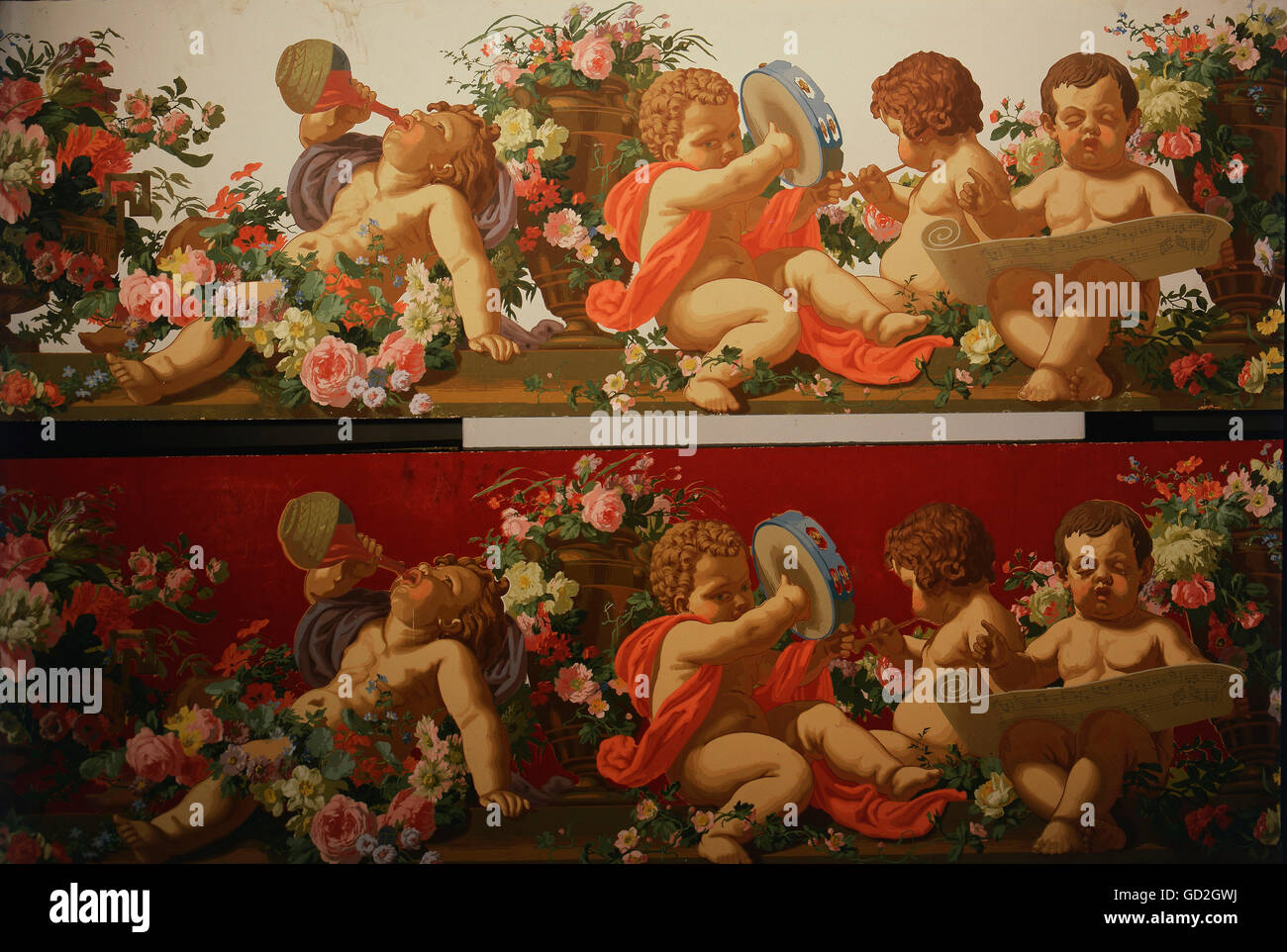 fine arts, wallpaper, frieze with putti in front of bright and dark background, second half 19th century, German - Stock Image