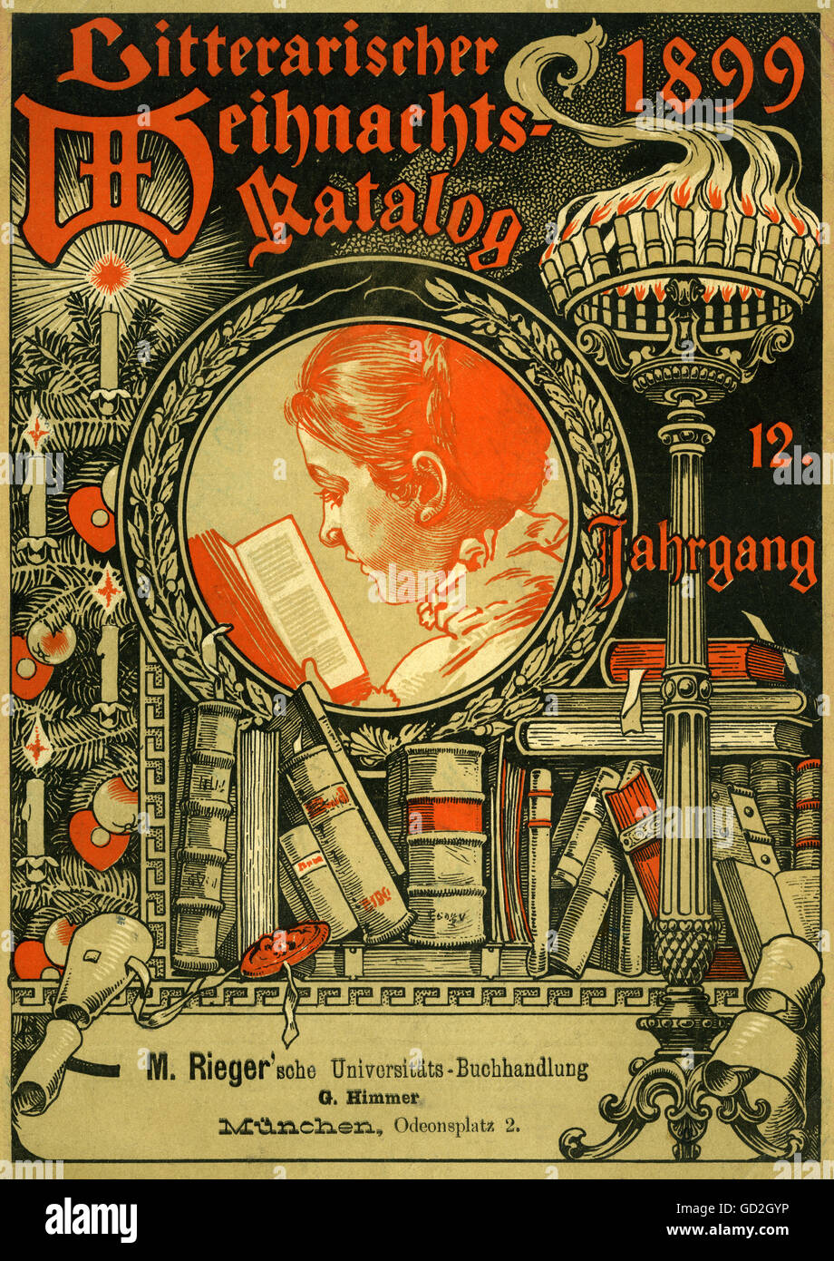 literature, Literary Christmas catalogue 1899, 12th volume, M. Rieger University bookshop, Odeonsplatz 2, Munich, - Stock Image
