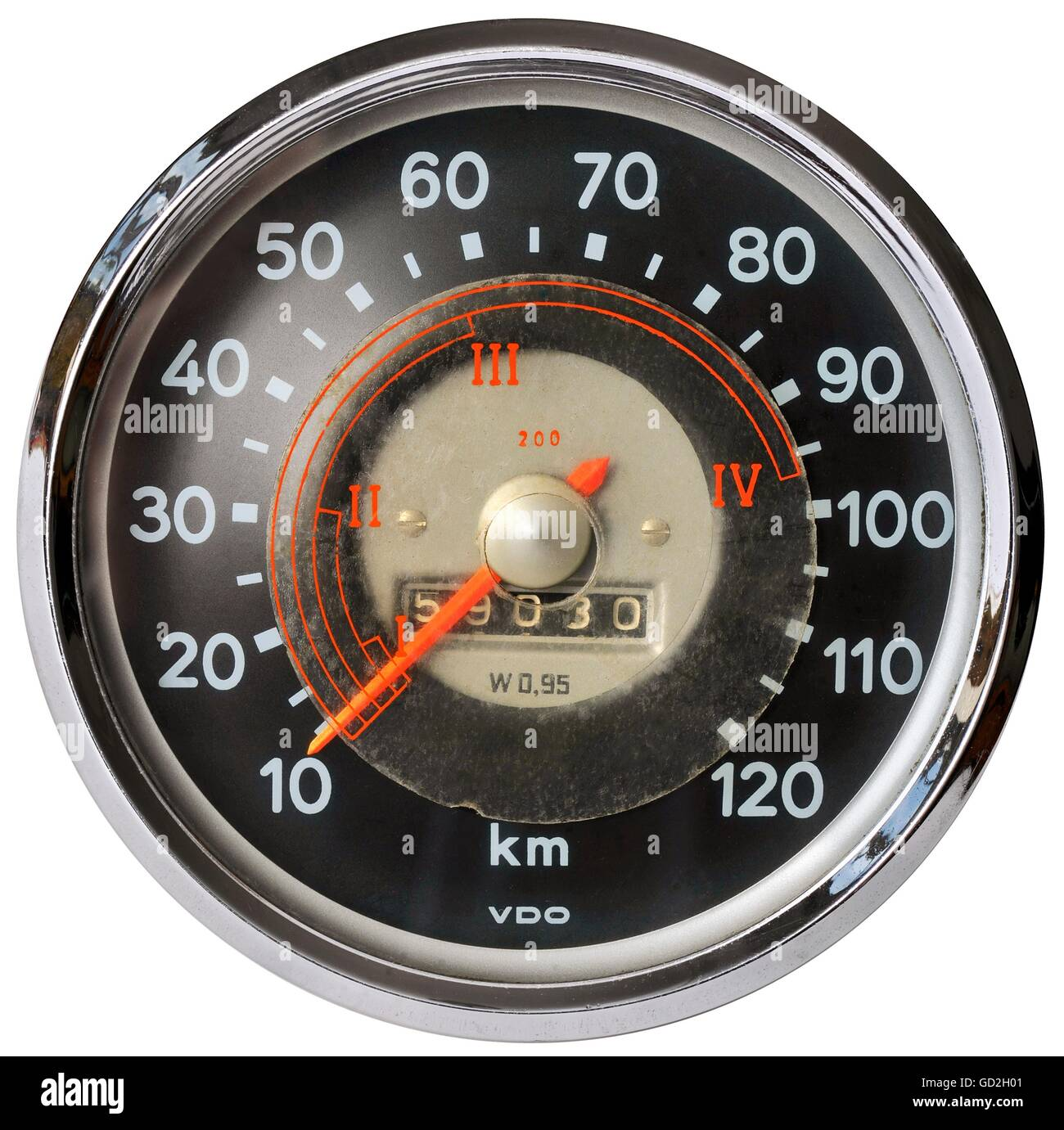 transport / transportation, car, speedometer, speedometer dial, with sticked gear assistent, made by: VDO, Germany, - Stock Image