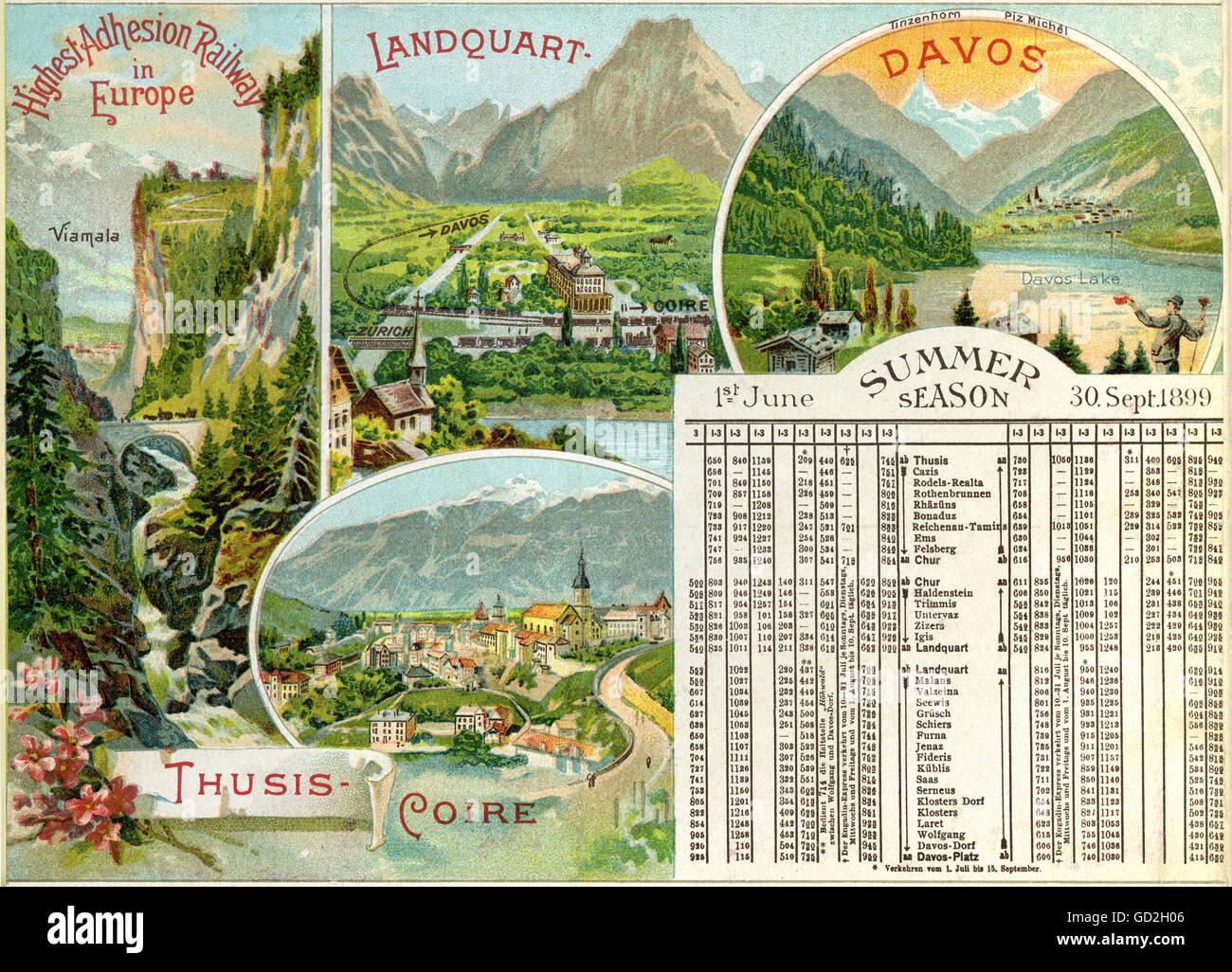 transport / transportation, railway, Rhaetian railway, adhesion railway, opened: 1888, enhanced: 1896, summer timetable - Stock Image