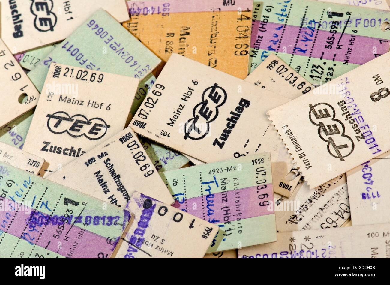 transport / transportation, railway, rail ticket, surcharge for the TEE about 8 DM, Mainz, Germany, 1969, Additional - Stock Image