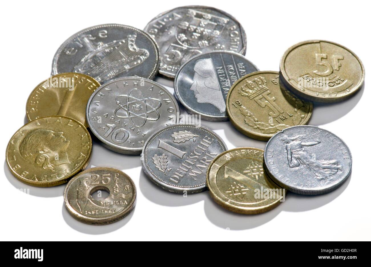 money / finances, coins, Germany, circa 1985 until 1992, national currency before the Euro Launch 2002, former currency, Stock Photo