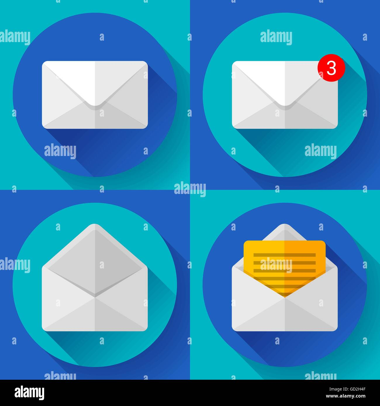 Set Mail Icon Open Envelope New Letter Message Notification Flat 2 0