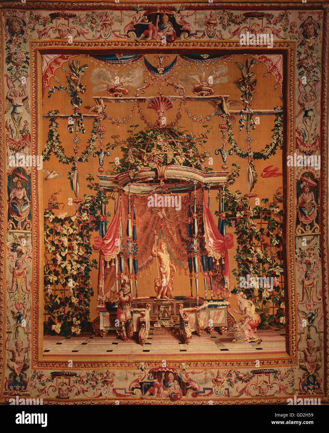 fine arts, tapestry, Dionysus with thyrsos, from the grotesques series, by Philippe Behagle, after design by Jean Stock Photo