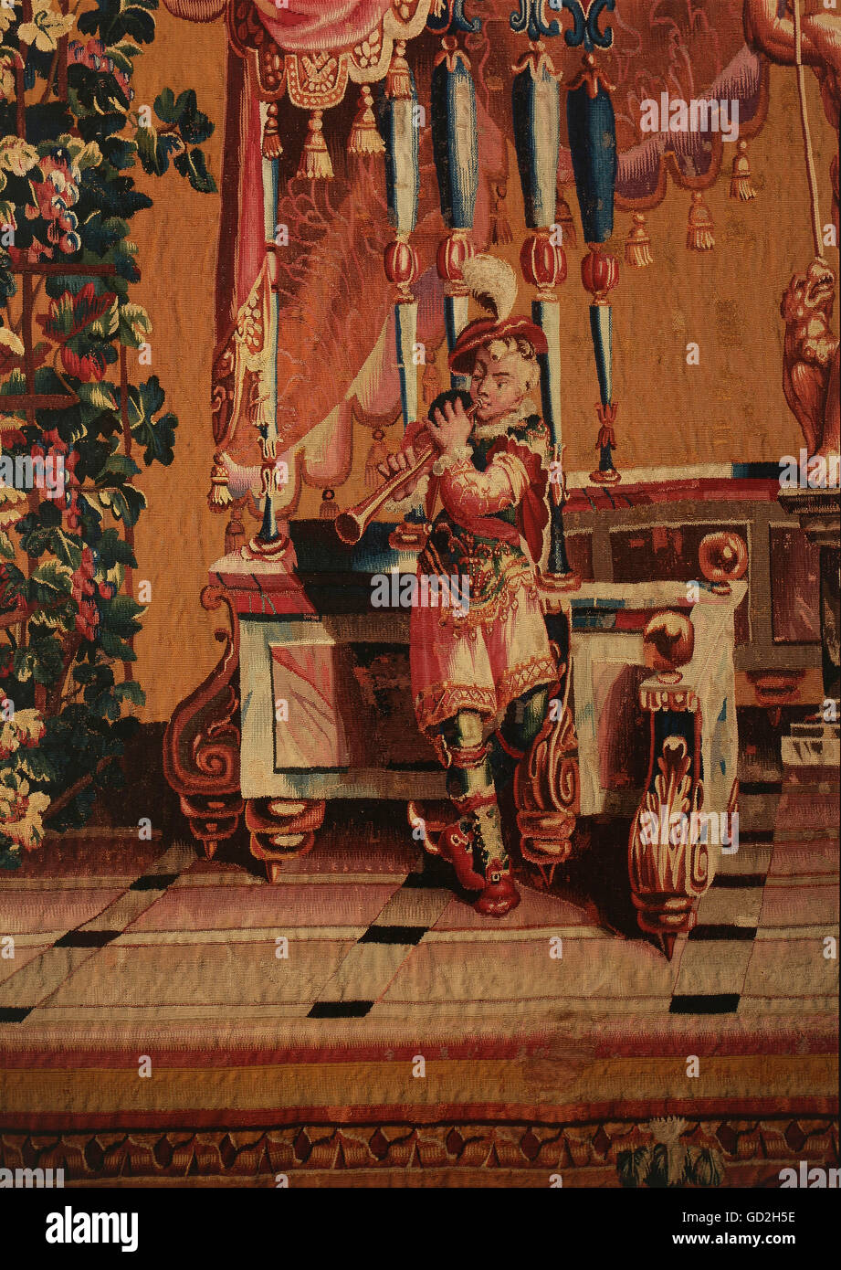 fine arts, tapestry, Dionysus with thyrsos, detail, clarinet player, from the grotesques series, by Philippe Behagle, Stock Photo