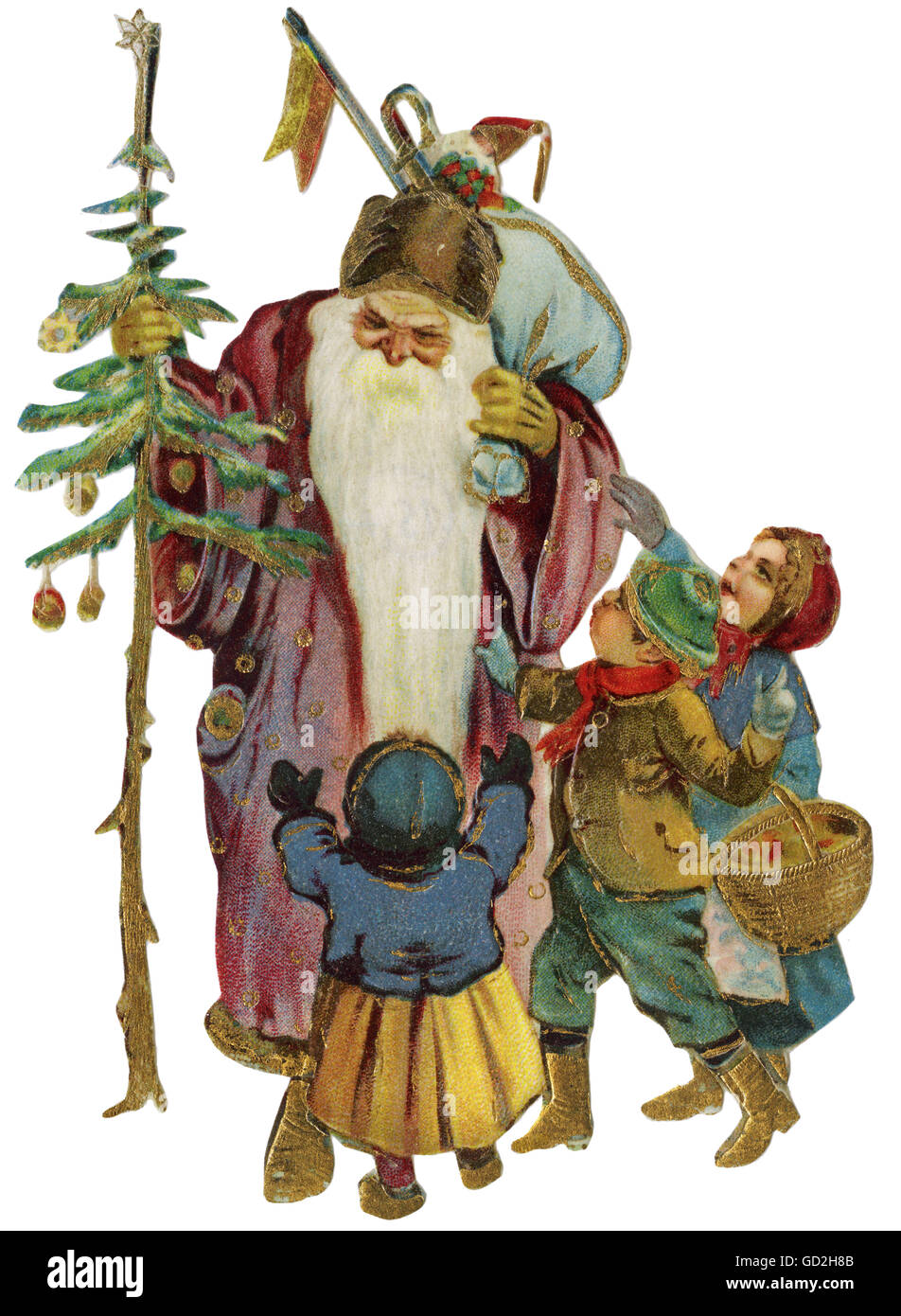 Christmas, Father Christmas, with children, scrap picture, Germany, circa 1911, Additional-Rights-Clearences-NA - Stock Image