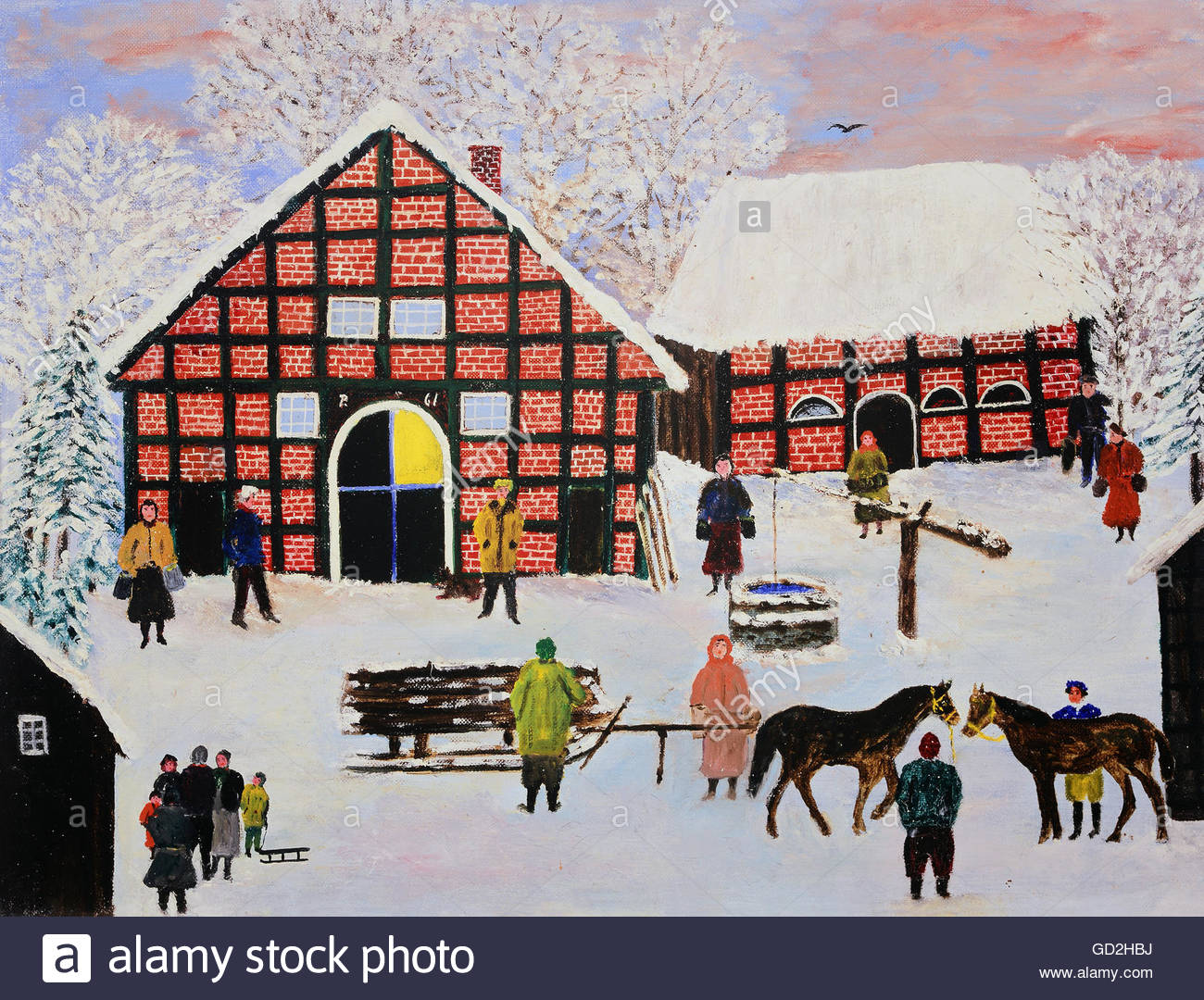 fine arts, Rusche, Dr. Waldemar, called 'Paps' (1882 - 1965), painting, 'Oberneuland im Winter' - Stock Image