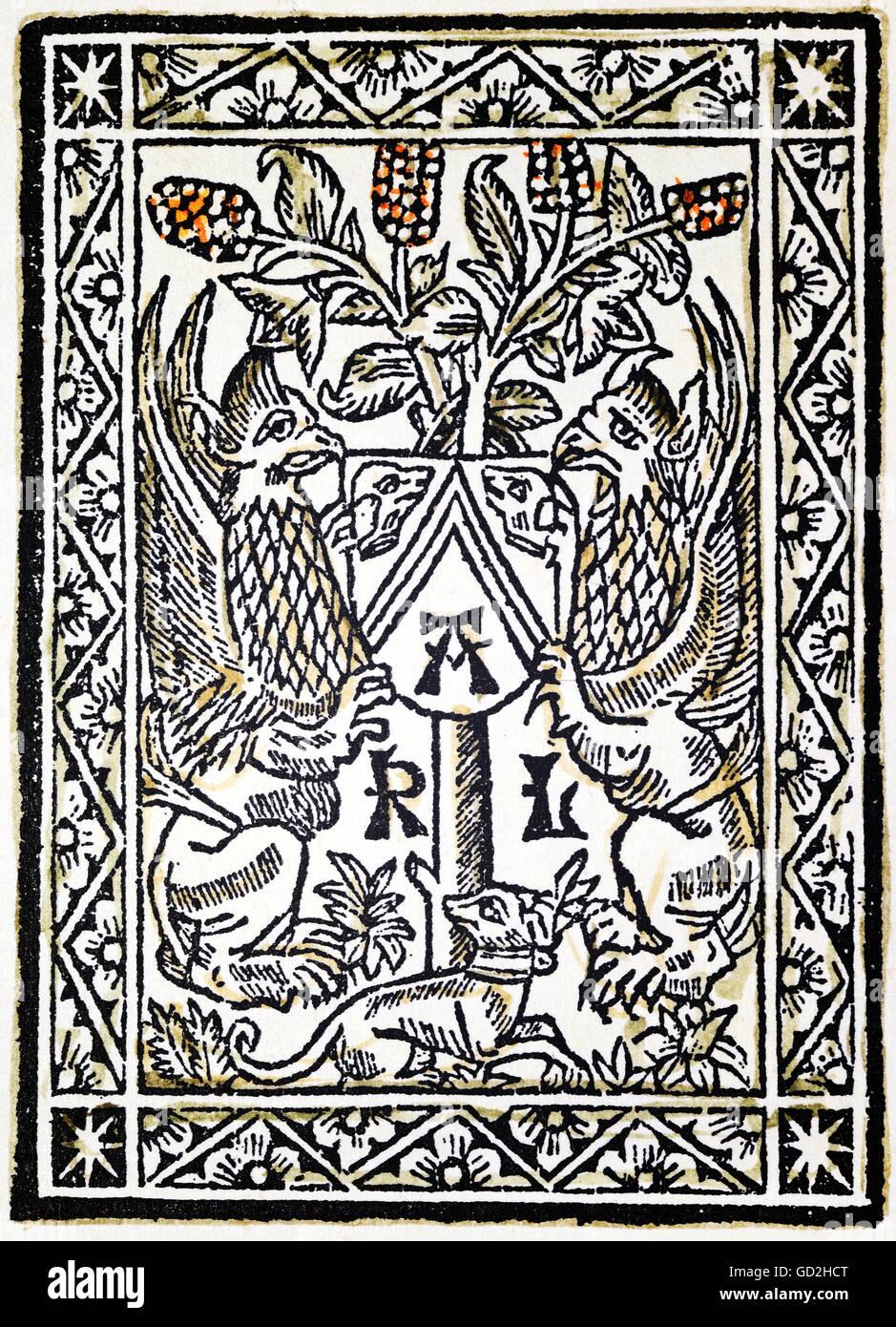 technics, letterpress, publisher's mark, Carlos Amoros, coloured woodcut, from: 'Libre apellat consolat - Stock Image