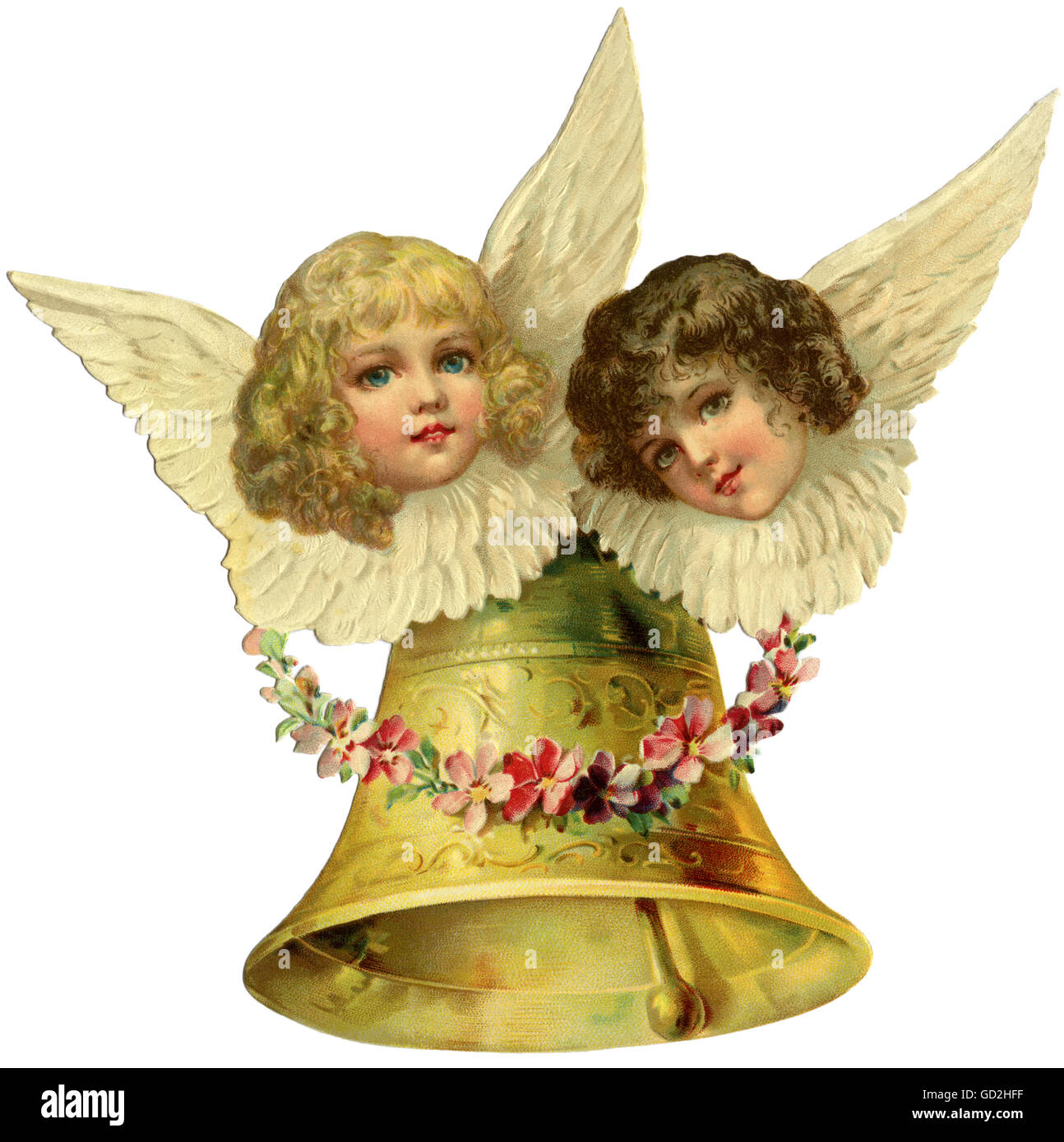 Christmas, two Christmas angelets, scrap-picture, Germany, 1903, Additional-Rights-Clearences-NA - Stock Image