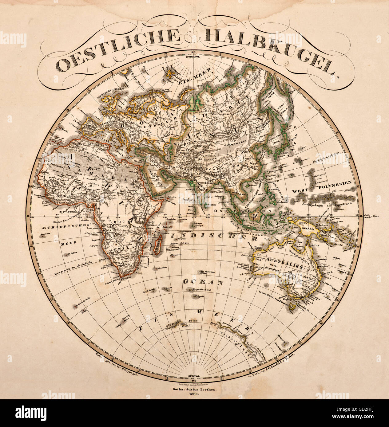 cartography, world map, Eastern hemisphere, out of 'Hand-Atlas ueber alle Theile der Erde und ueber das Weltgebaeude', - Stock Image