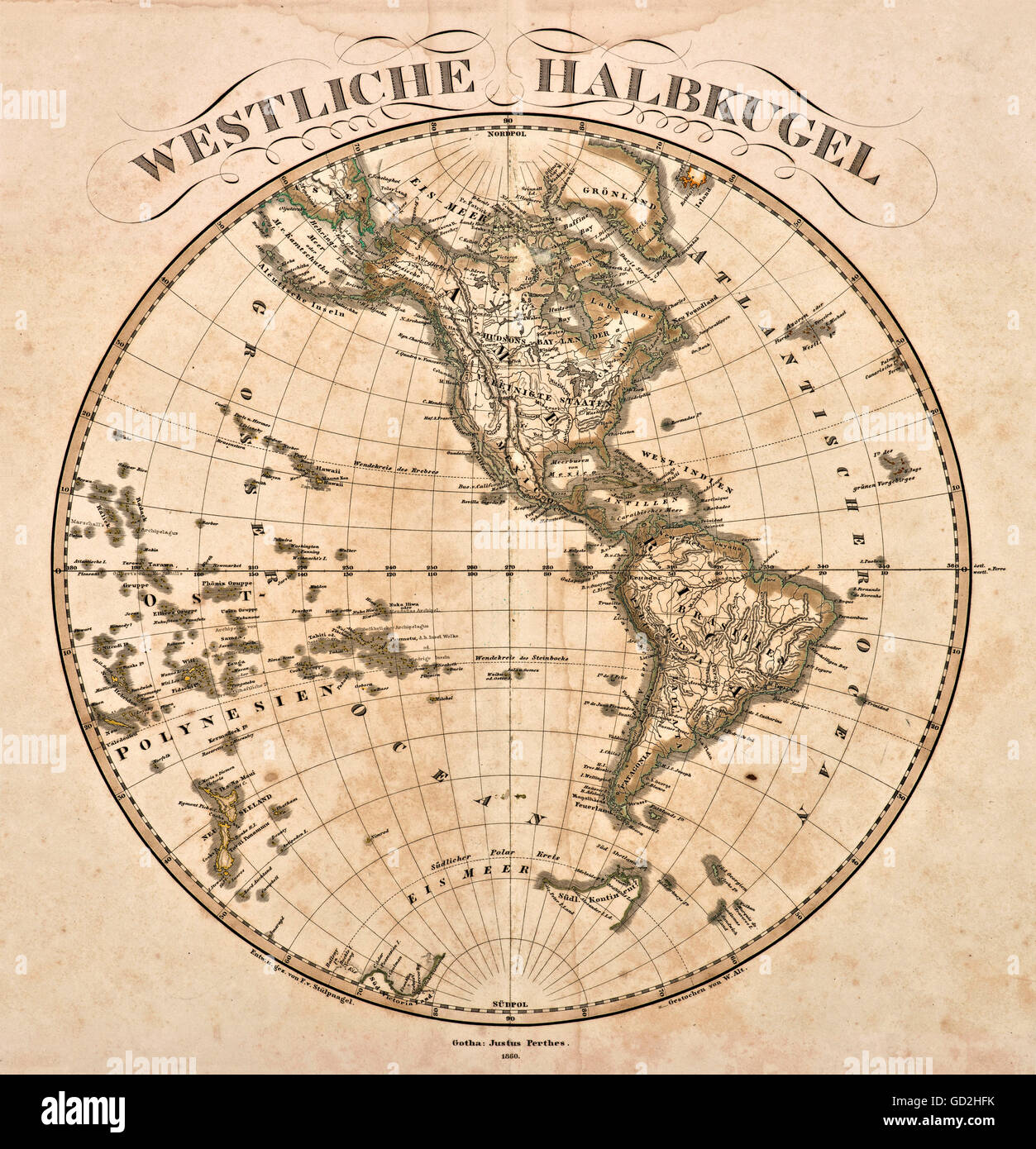 cartography, world map, Western hemisphere, out of 'Hand-Atlas ueber alle Theile der Erde und ueber das Weltgebaeude', - Stock Image