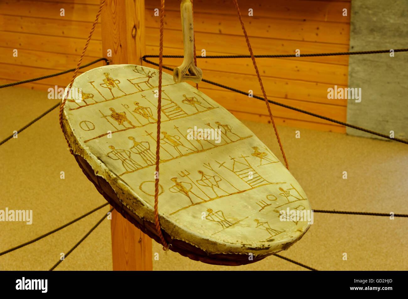 music, musical instrument, magic drum of the shamans in the museum of Karasjok, Norway, Sami people, Saami, Lapps, - Stock Image