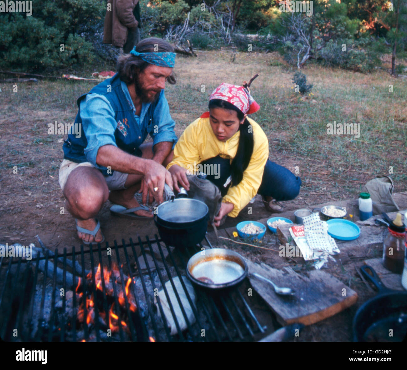 Gary Snyder and Masa Uehara camping in the Sierra Nevada - Stock Image