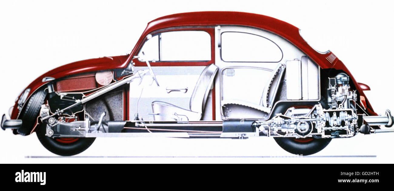 transport / transportation, cars, Volkswagen, VW Beetle 1200, year of construction: 1963, sectioned, vehicle, vehicles, - Stock Image
