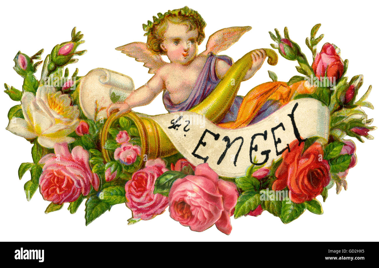 kitsch / souvenir, little angel, angel with cornucopia and roses, Germany, 1909, Additional-Rights-Clearences-NA - Stock Image
