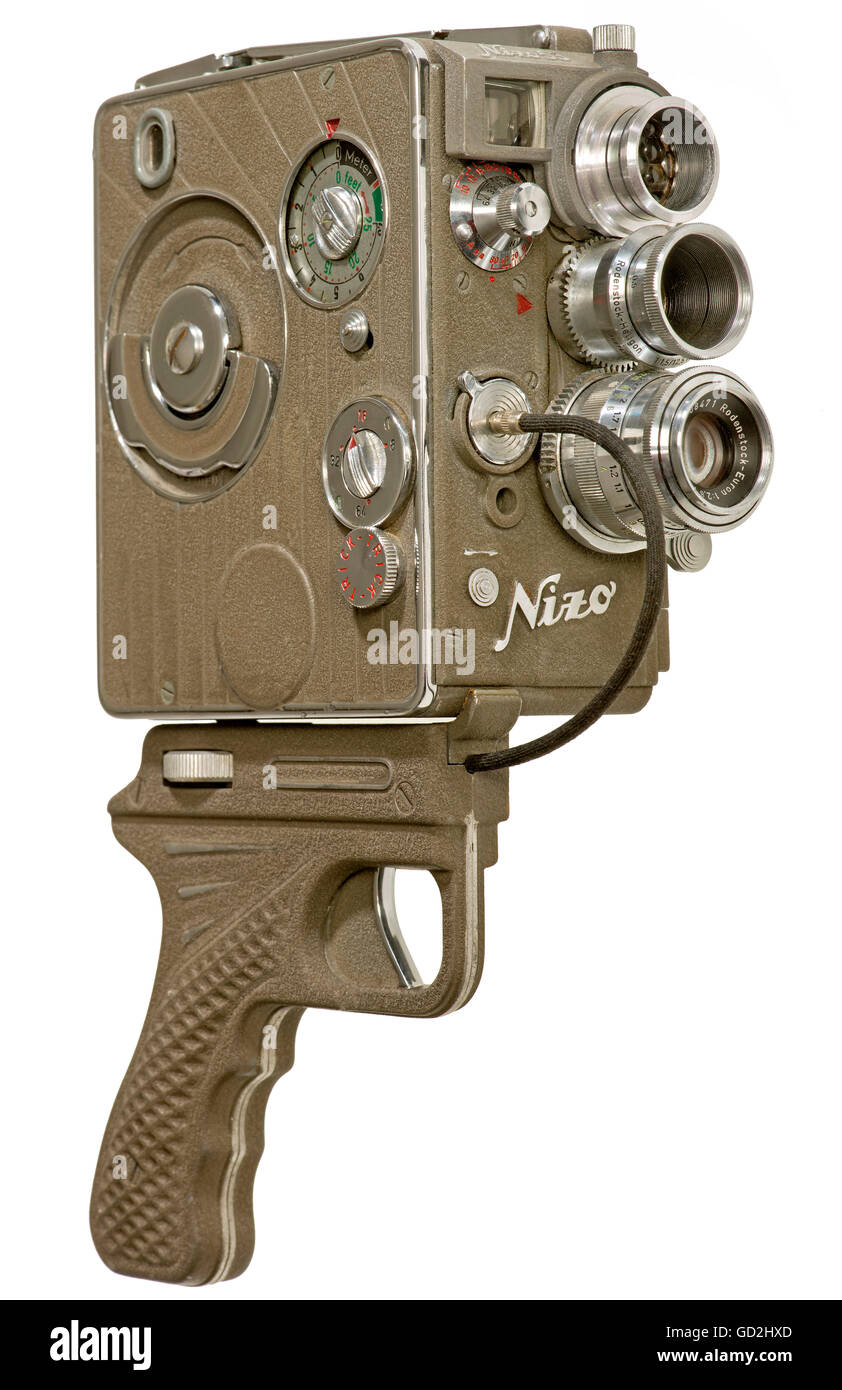 movie, Nizo Heliomatic 8 S2R, 8mm cine camera, with screwed pistol grip and cable trigger, made by Niezoldi & - Stock Image