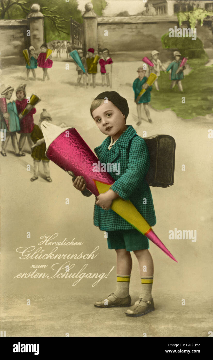 pedagogy, school, good wishes to the first school walk, abecedarian with schultuete, postcard, Germany, circa 1928, - Stock Image