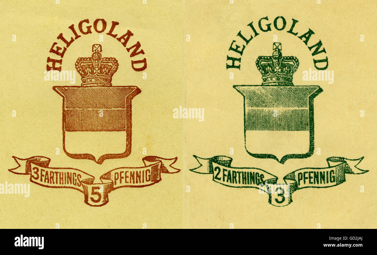 mail, postage stamps, Heligoland, 2 British stamps, belongs from 1807 until 1890 to Great Britain, so called stripes - Stock Image