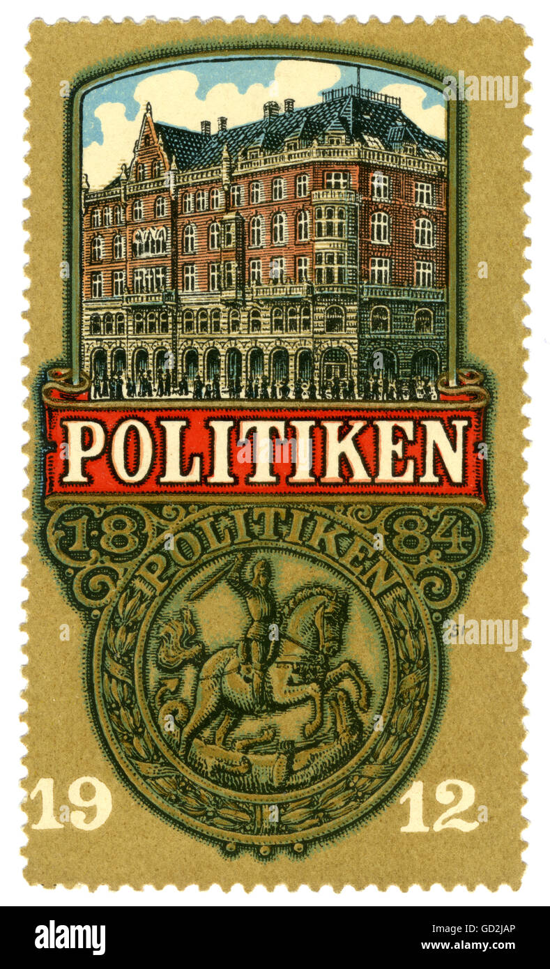 advertising, Politiken, big Danish daily, founded 1884, poster stamp, illustration with the editorial office building - Stock Image