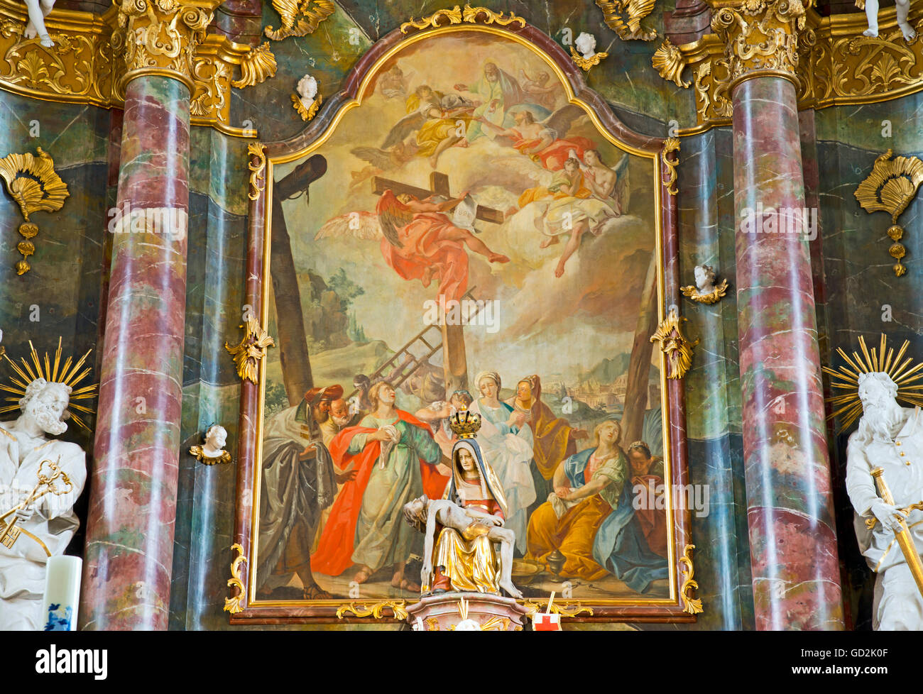 fine arts, baroque, miraculous image of the Virgin Mary above the high altar, pilgrimage church of our lovely ladies - Stock Image