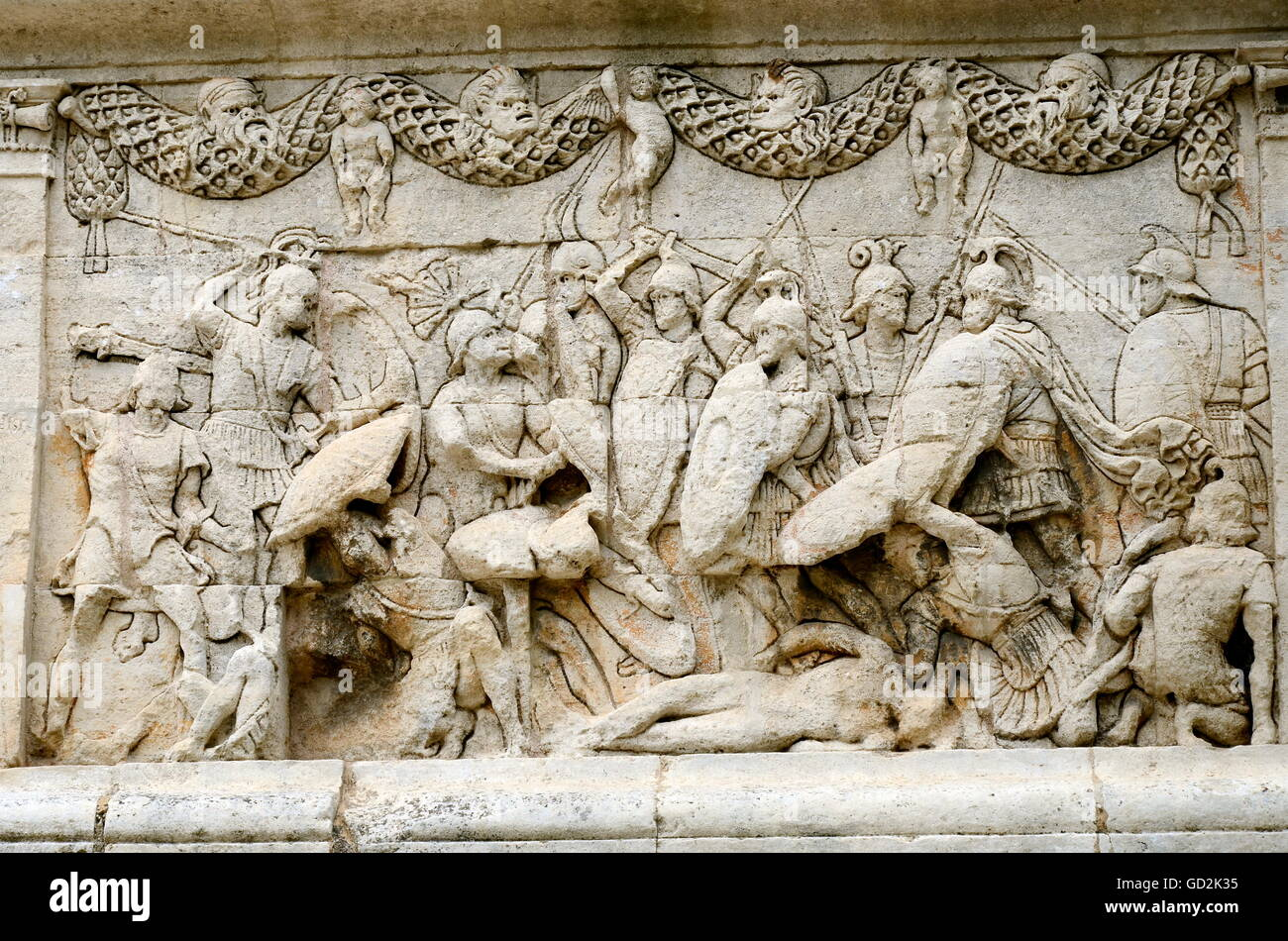 fine arts, ancient world, frieze on the eastern side of the mausoleum of Glanum, showing the mythic war between - Stock Image