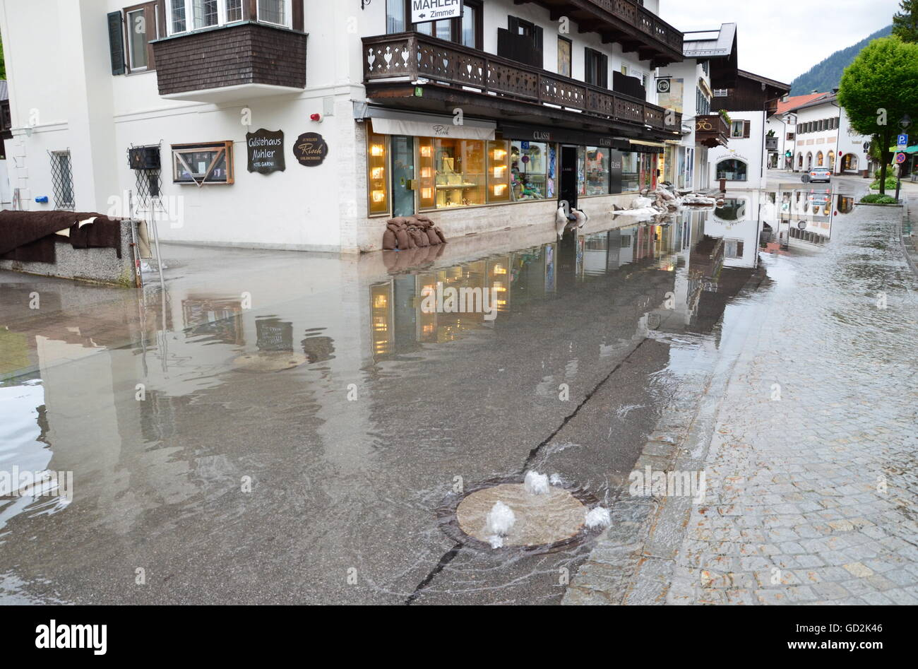 disaster, flood, Seestrasse after the flood, Rottach-Egern, Bavaria, 3.6.2013, Additional-Rights-Clearences-NA - Stock Image