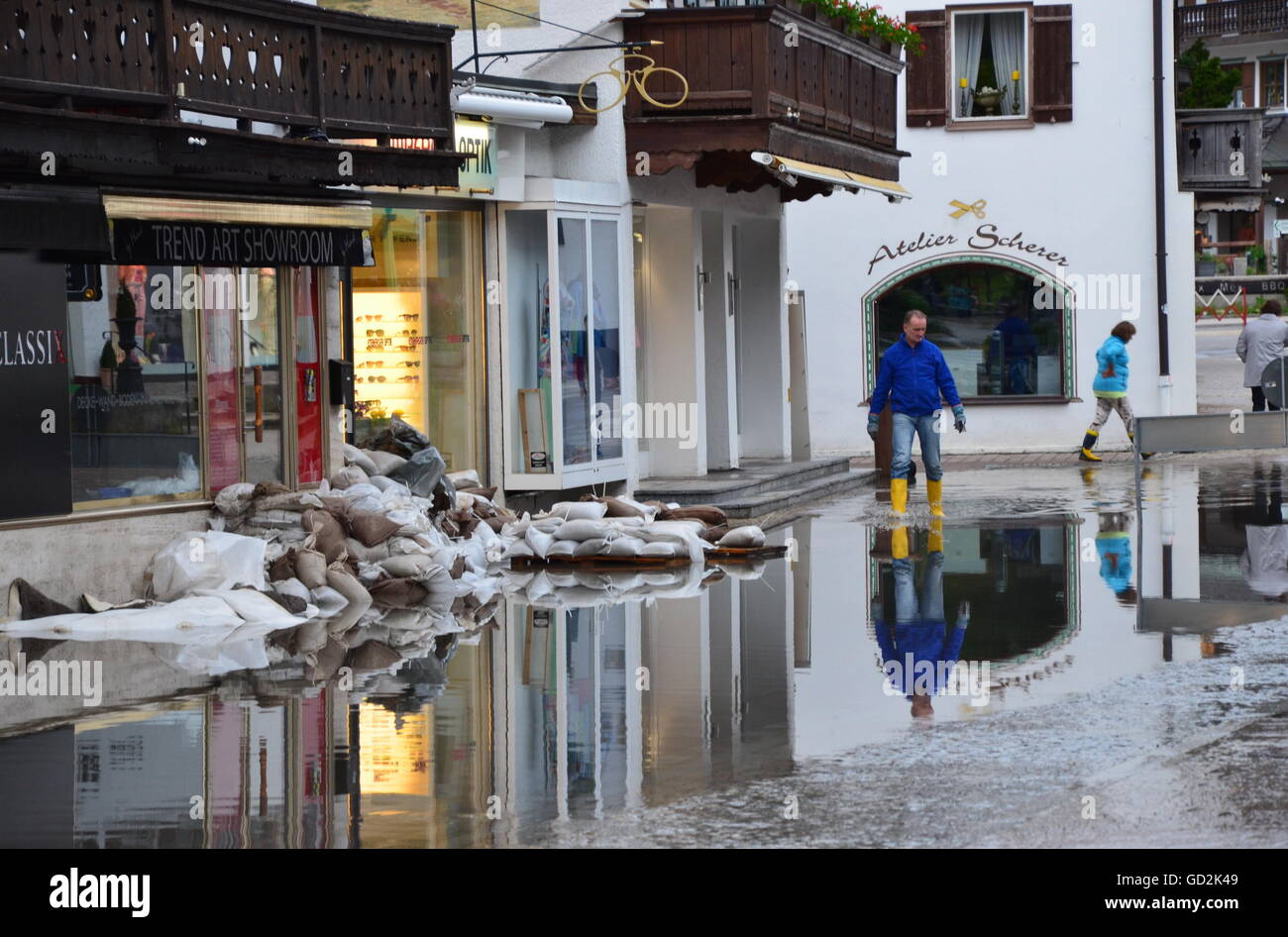 disaster, flood, after the flood at Seestrasse, Rottach-Egern, Bavaria, 3.6.2013, Additional-Rights-Clearences-NA - Stock Image