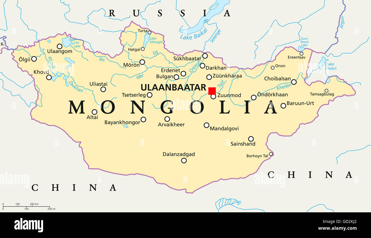 Mongolia political map with capital Ulaanbaatar, national borders, important cities, rivers and lakes. - Stock Image