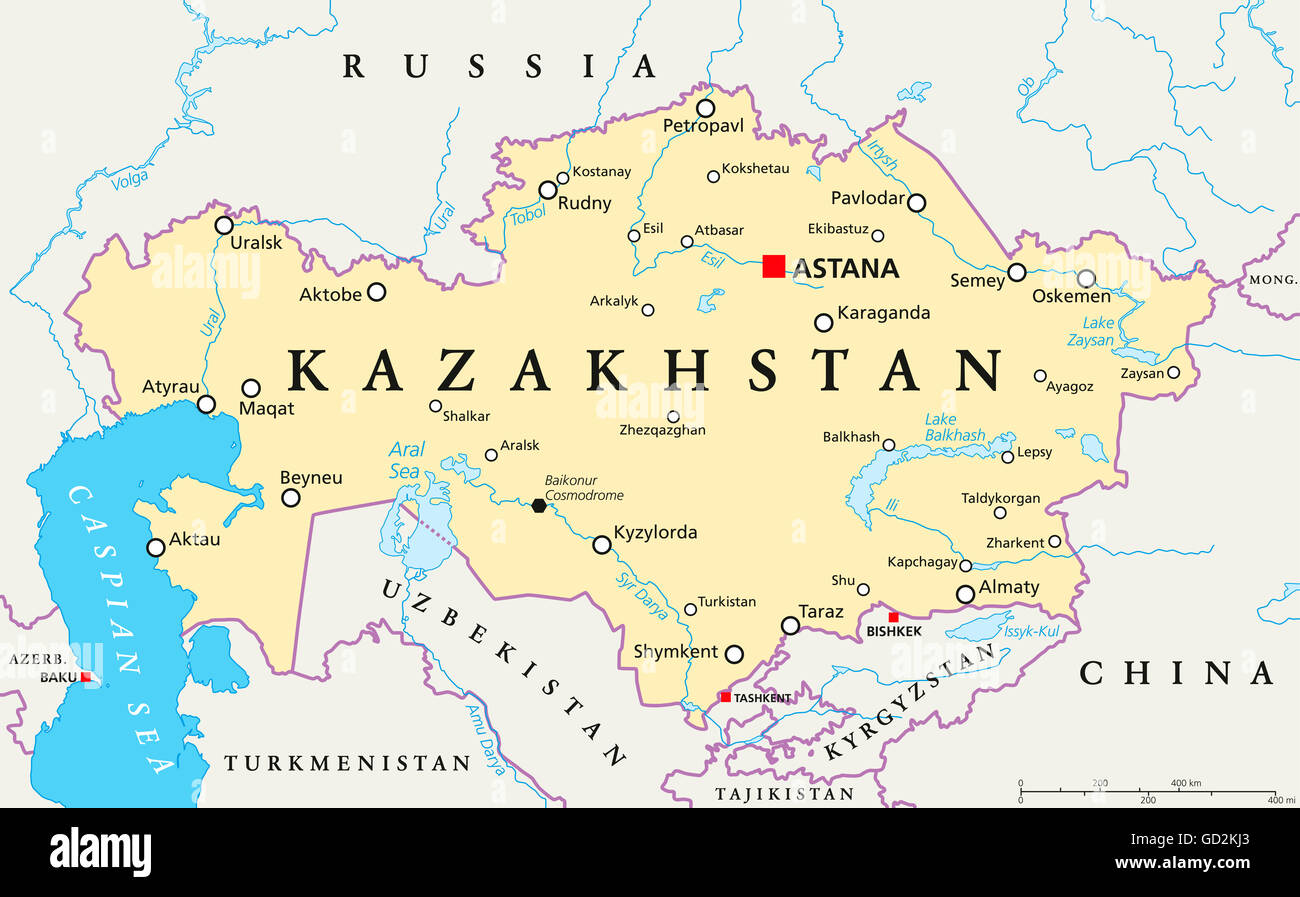 Map Of Asia With Capital Cities.Kazakhstan Political Map With Capital Astana National Borders Stock