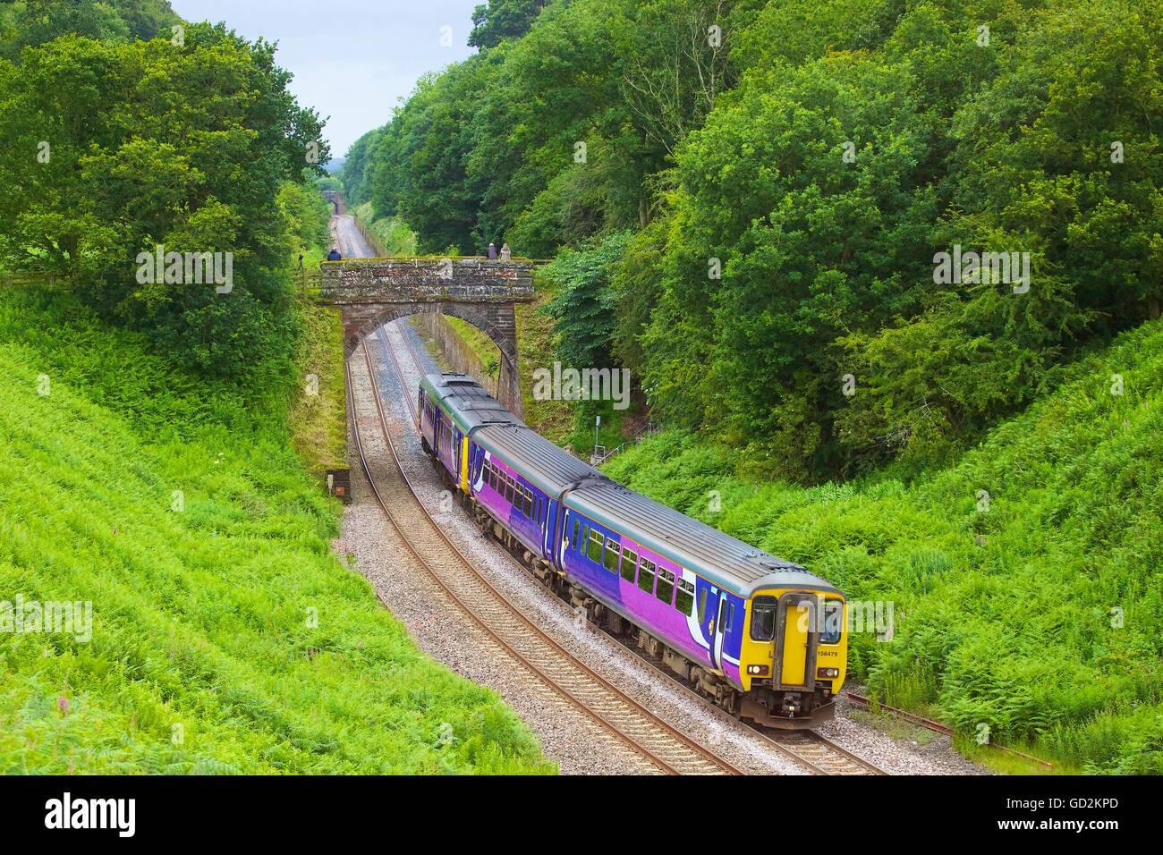 Cowran Cut. Sprinter train. Cowran Cutting, Brampton, Cumbria, England, United Kingdom, Europe. - Stock Image