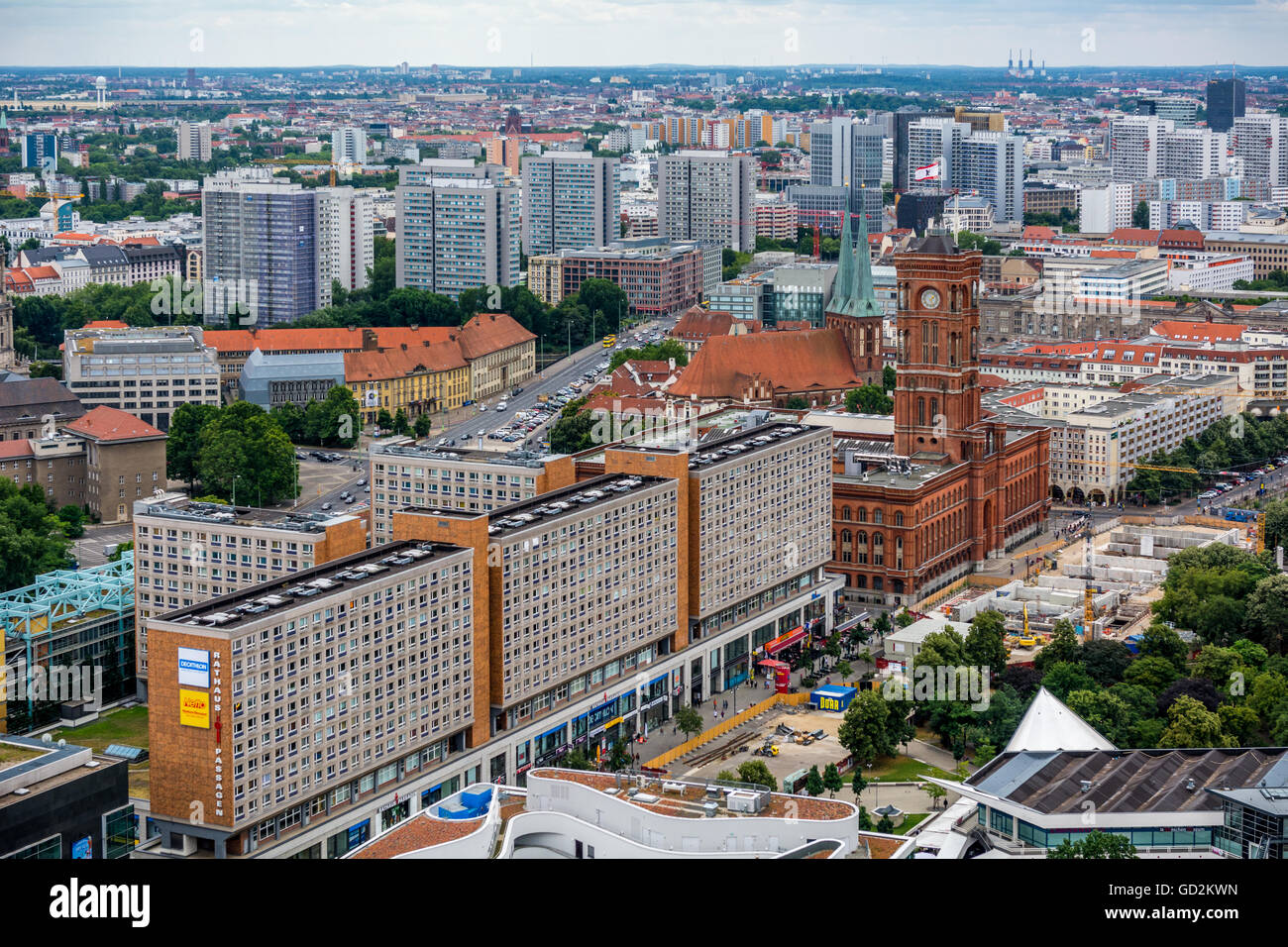 Rotes Rathaus Berlin from Park Inn panorama - Stock Image