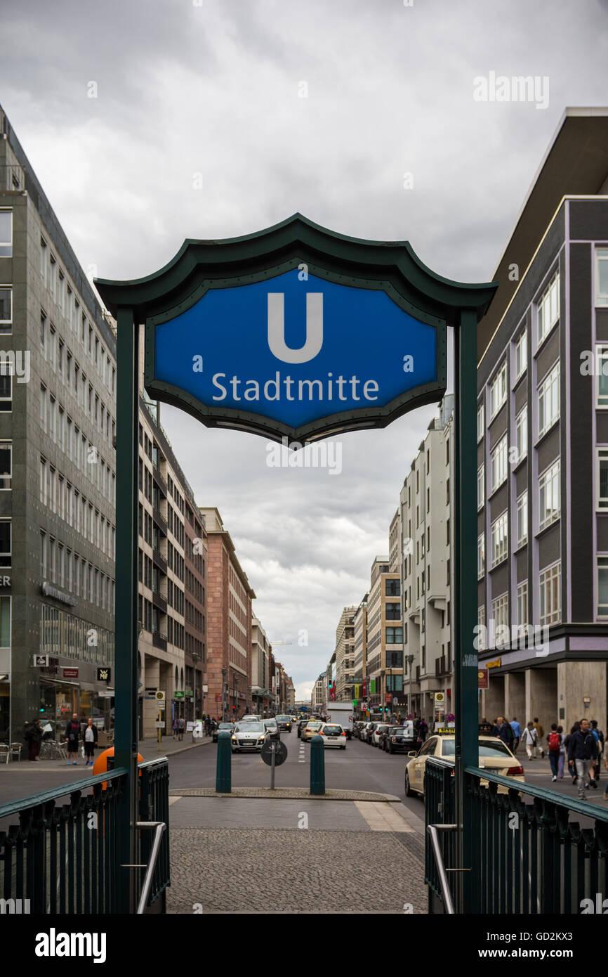 U Bahn sign Berlin Stadtmitte - Stock Image