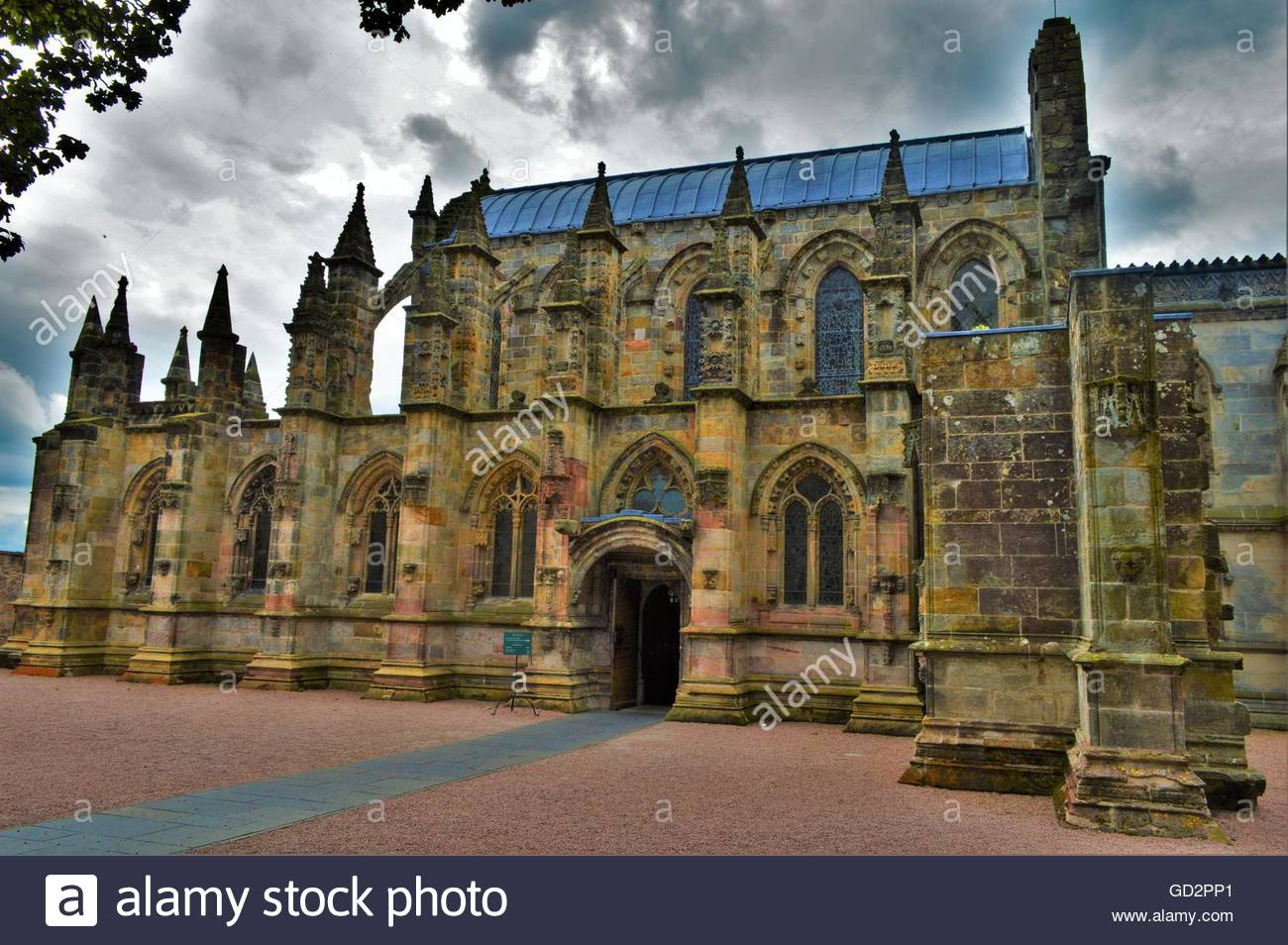 Rosslyn Chapel on a Cloudy Day - Stock Image