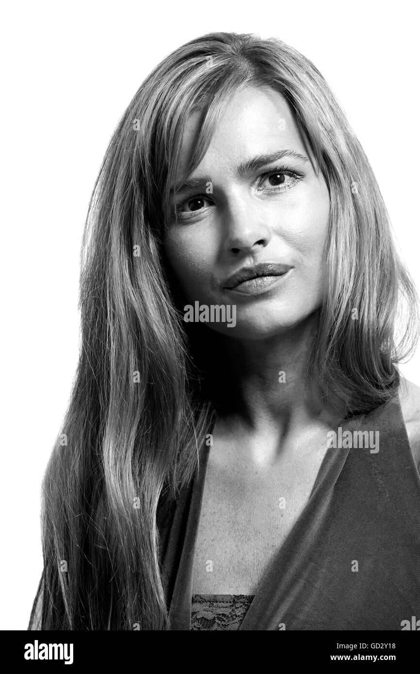 Single Person Blonde Hair Smiling Black And White Stock Photos
