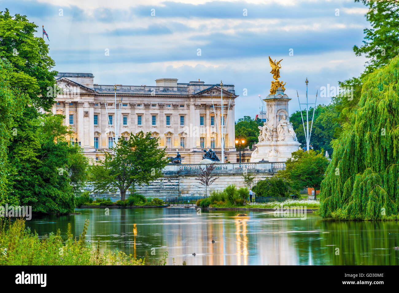 Buckingham Palace seen from St. James Park in London - Stock Image