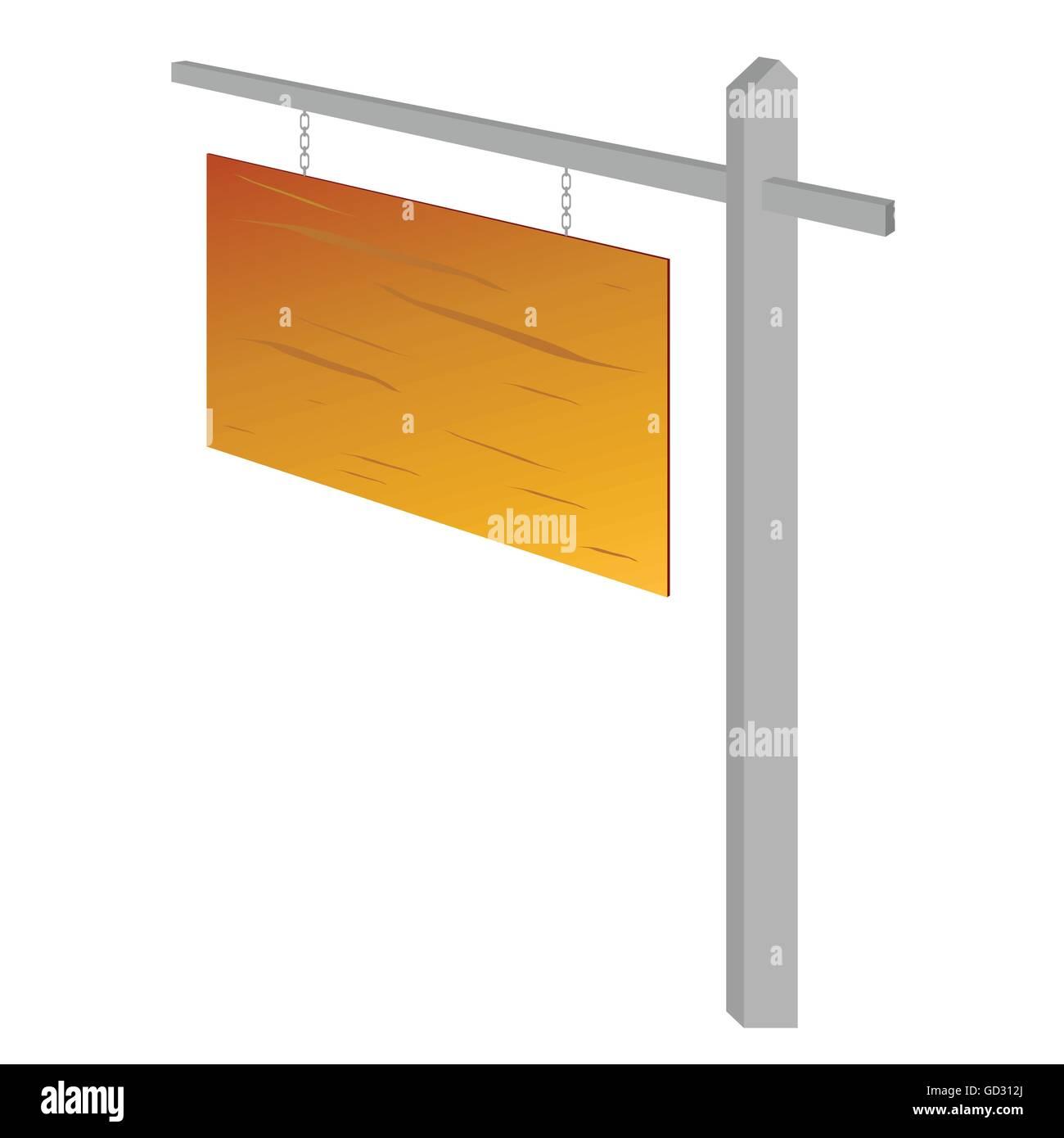 wooden sign vector illustration on white background - Stock Vector
