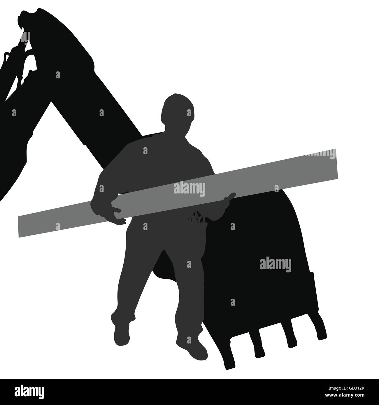 worker carries material by machine vector silhouette - Stock Vector