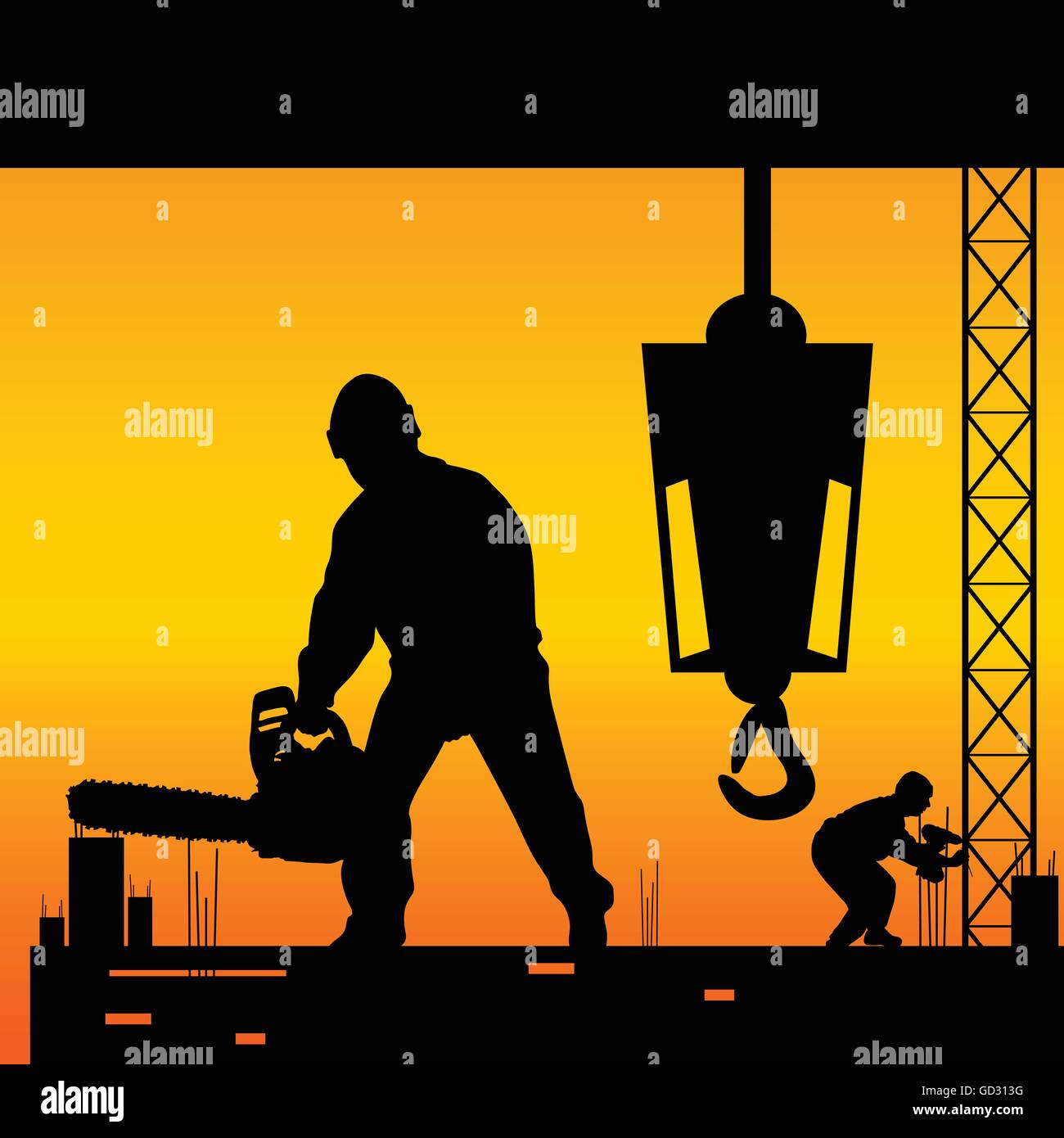 workers on a construction site vector illustration - Stock Vector
