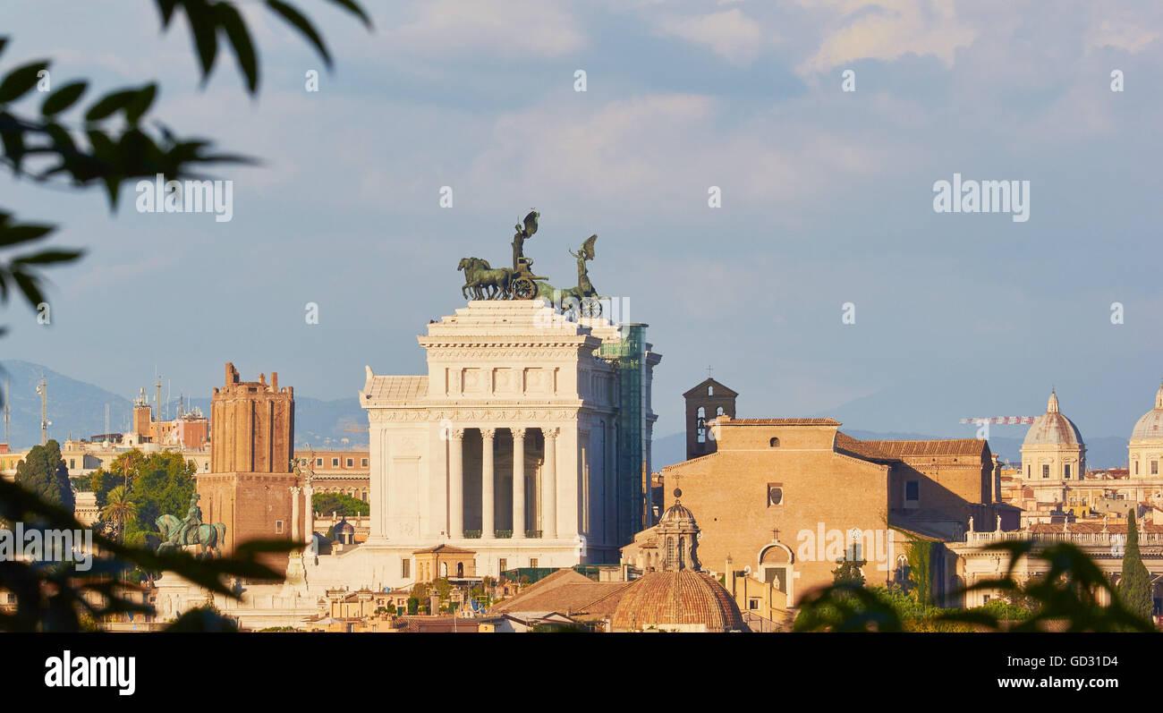 Cityscape with Vittorio Emanuele Monument or 'Vittoriano' on skyline Rome Lazio Italy Europe - Stock Image