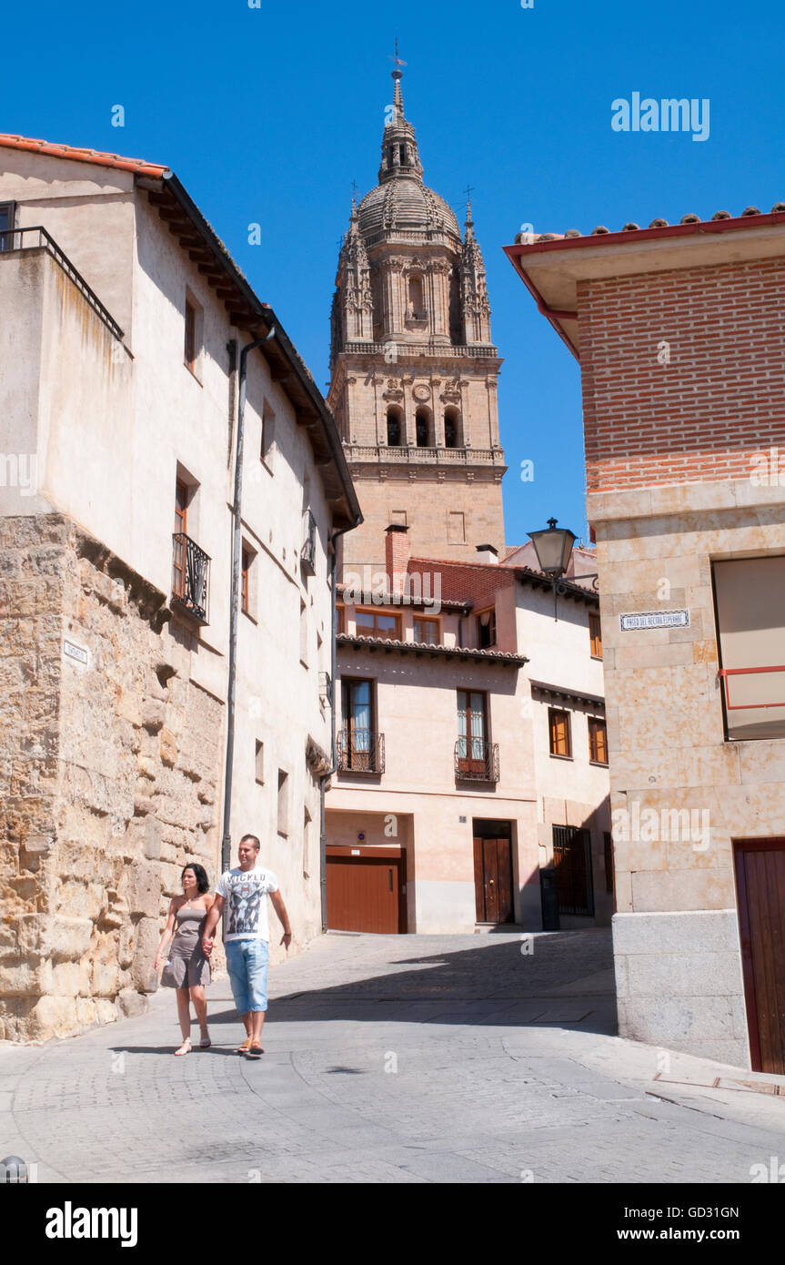Street and tower of the cathedral. Salamanca, Spain. - Stock Image