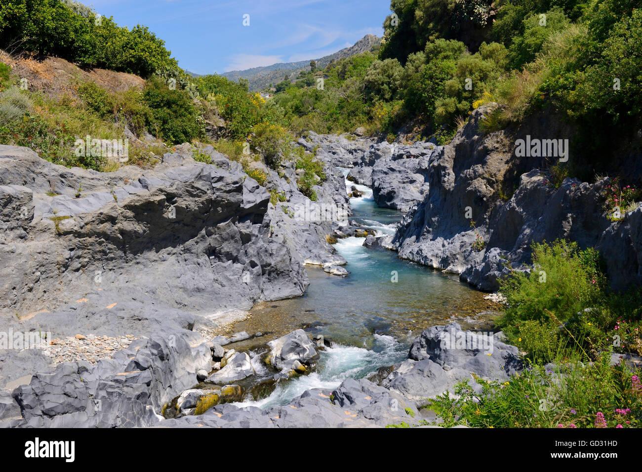 Alcantara Gorge (Gole Alcantara), Sicily, Italy - Stock Image