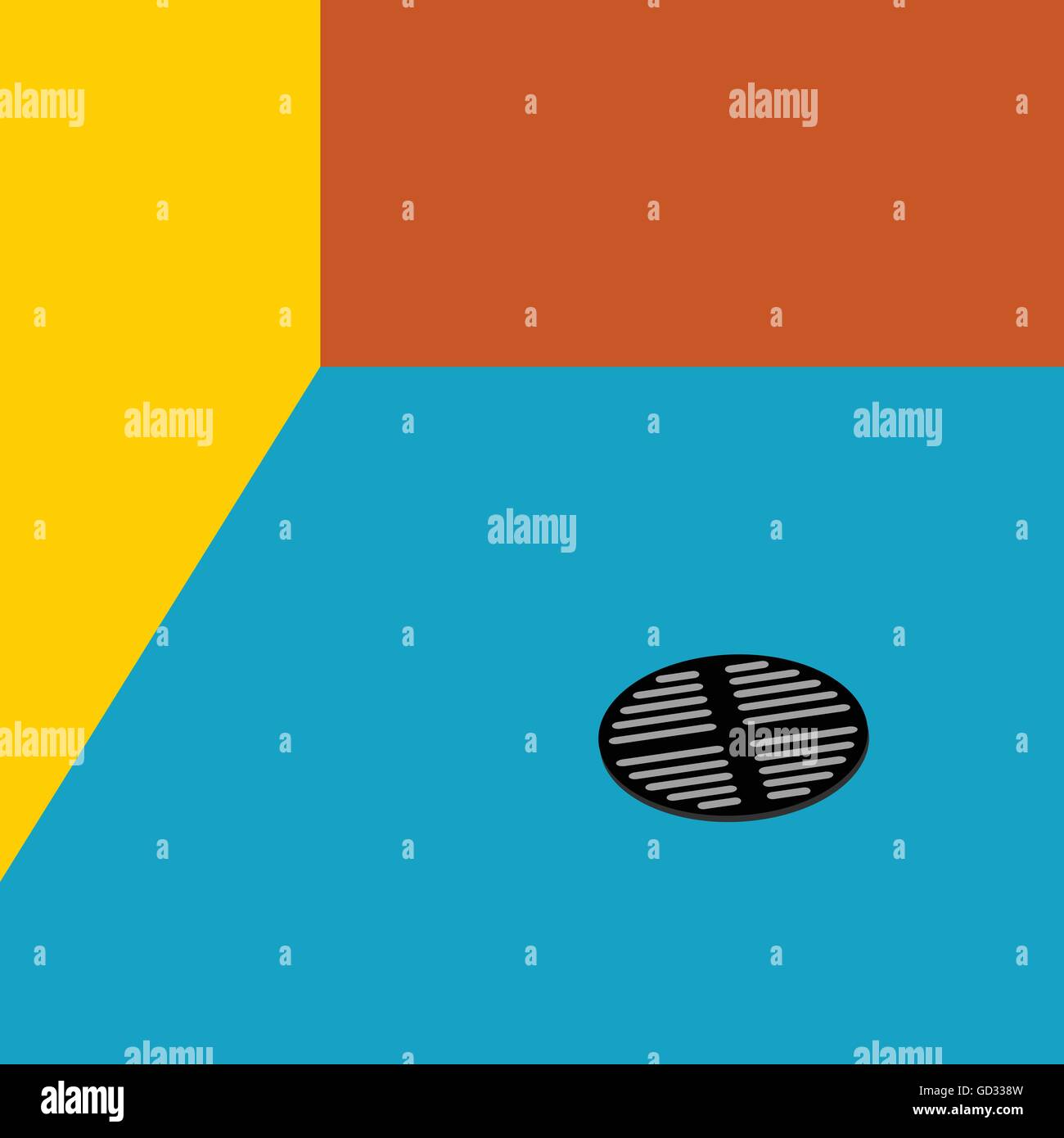 drain water art vector illustration with three color wall - Stock Vector